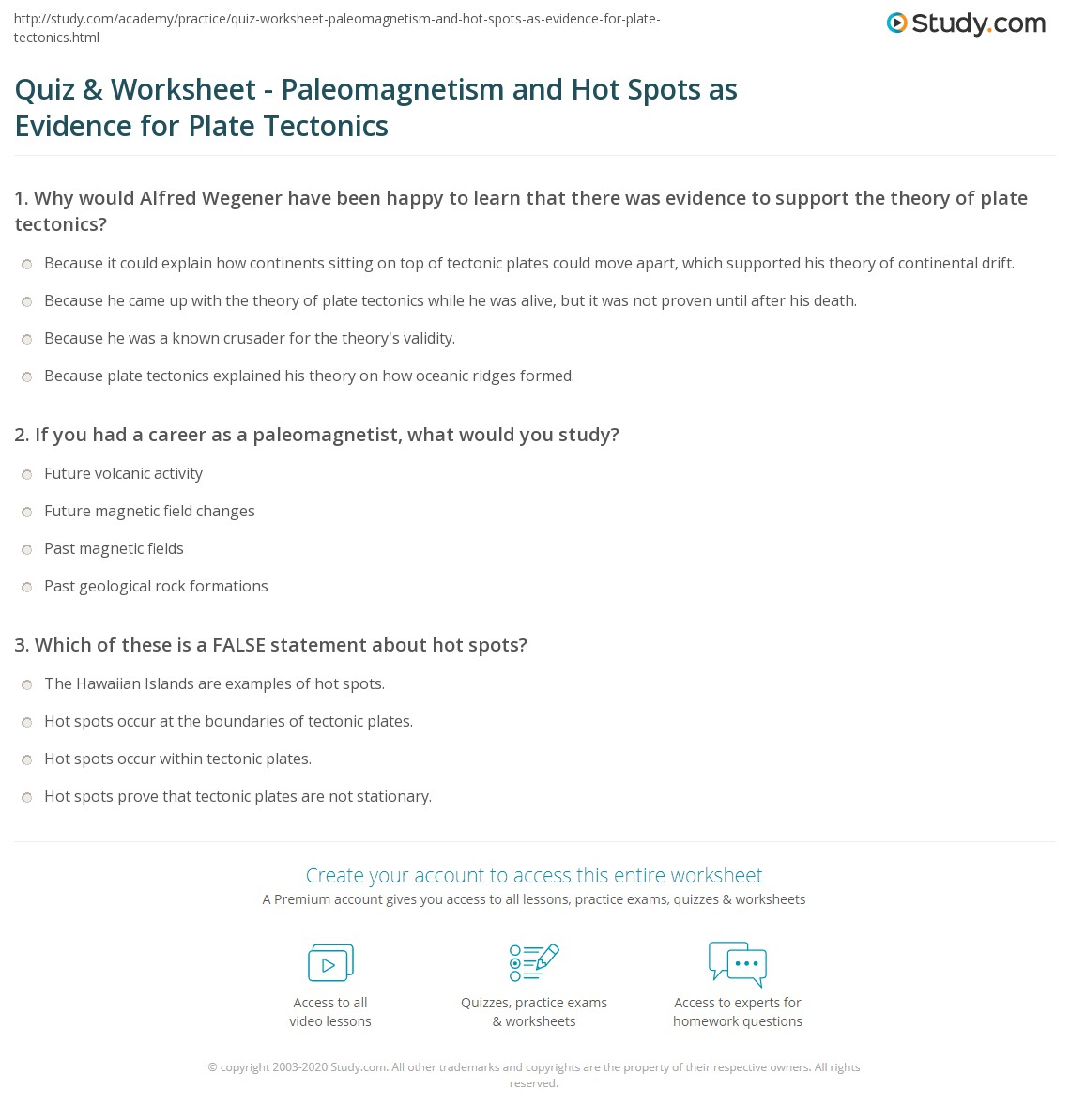 Quiz Worksheet Paleomagnetism and Hot Spots as Evidence for – Plate Boundaries Worksheet Answers