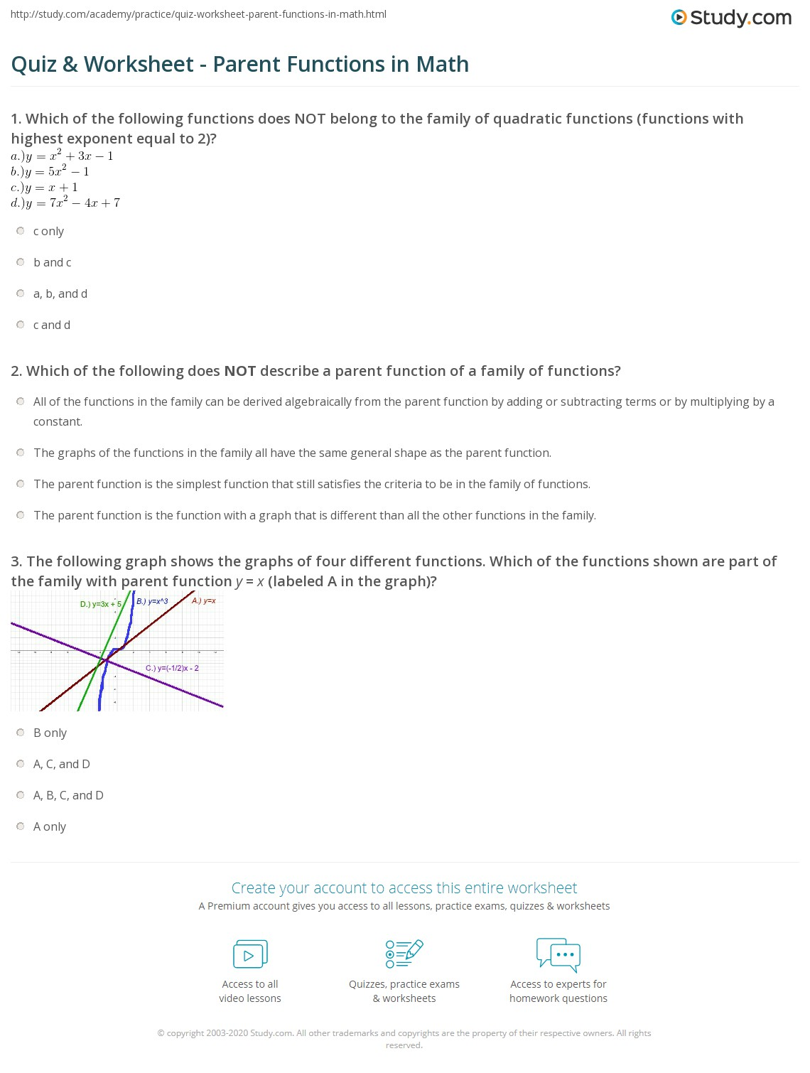 math worksheet : quiz  worksheet  parent functions in math  study  : Math Functions Worksheet