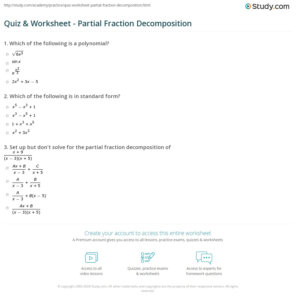 Quiz & Worksheet - Partial Fraction Decomposition | Study.com