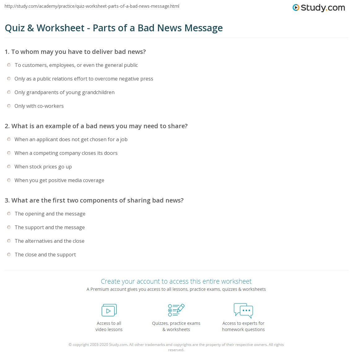 quiz worksheet parts of a bad news message. Black Bedroom Furniture Sets. Home Design Ideas
