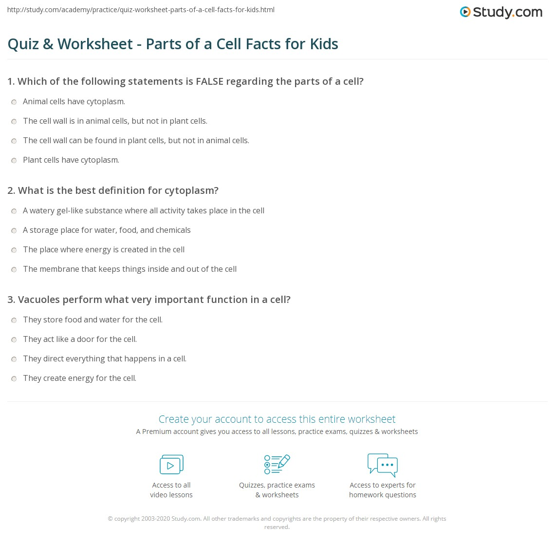Quiz & Worksheet - Parts of a Cell Facts for Kids  Study.com alphabet worksheets, grade worksheets, free worksheets, and math worksheets Cell Part Worksheet 2 1418 x 1140