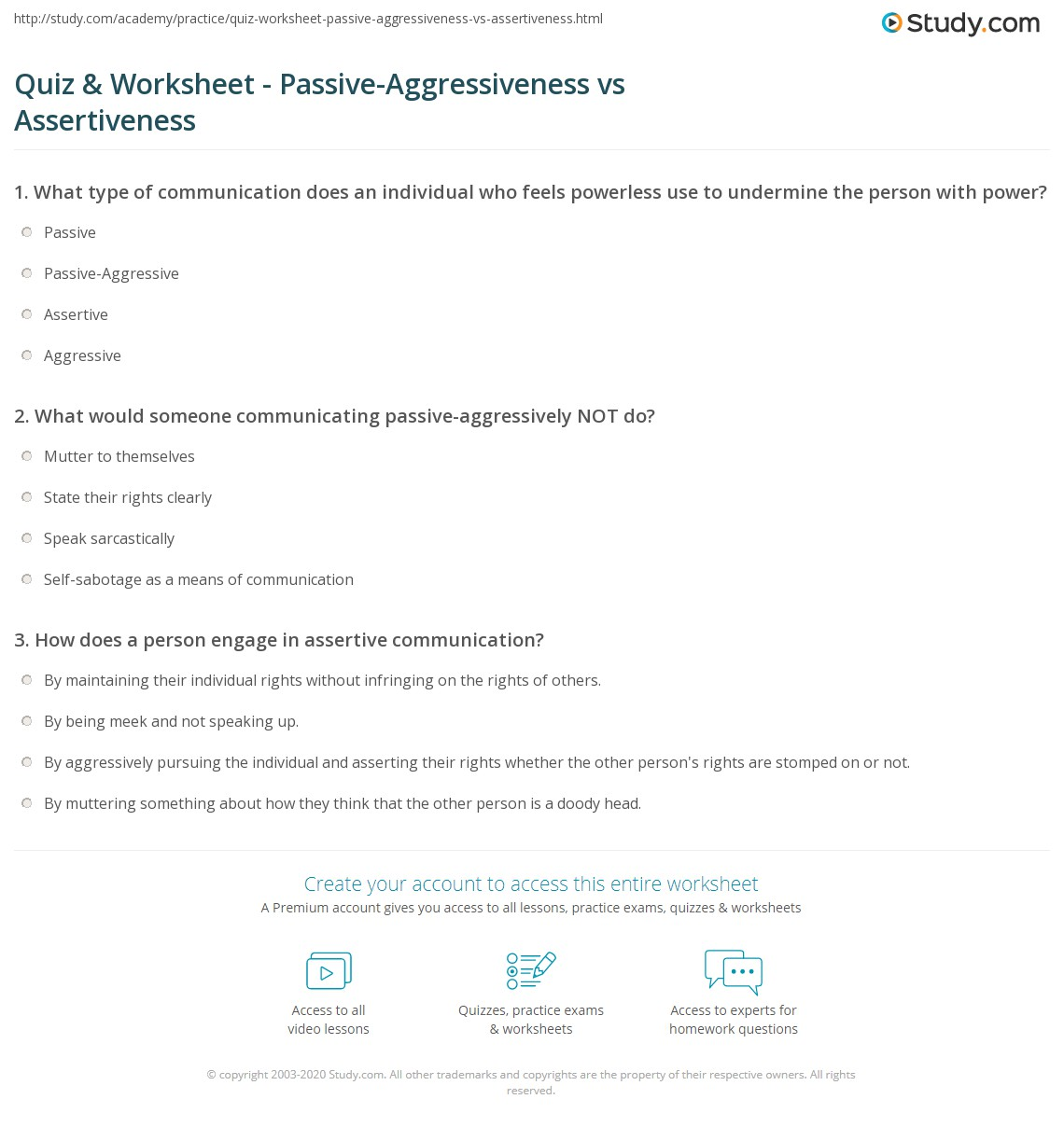 Quiz Worksheet PassiveAggressiveness vs Assertiveness – Assertive Communication Worksheets