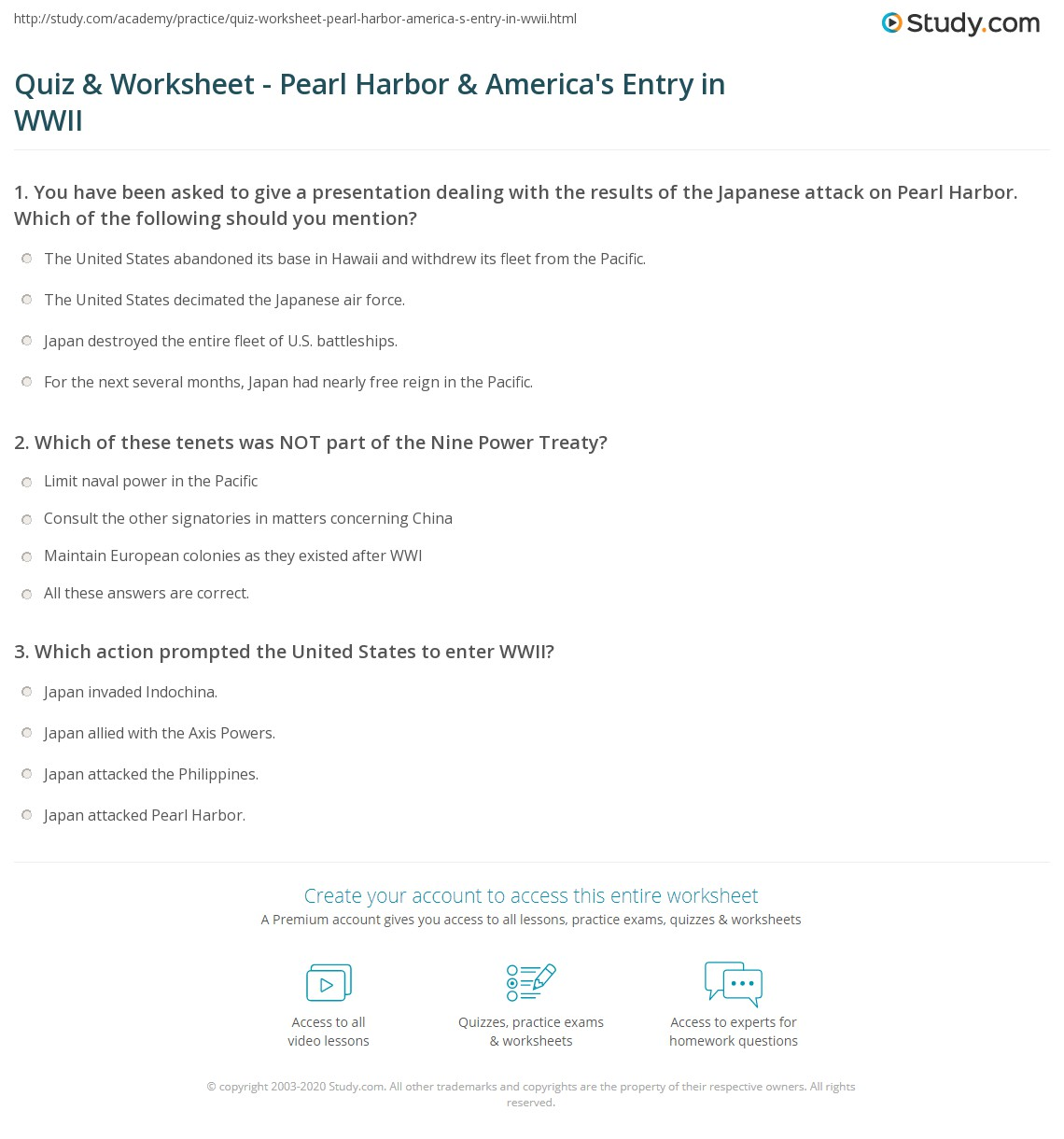 Quiz Worksheet Pearl Harbor Americas Entry in WWII – World War 1 Worksheets