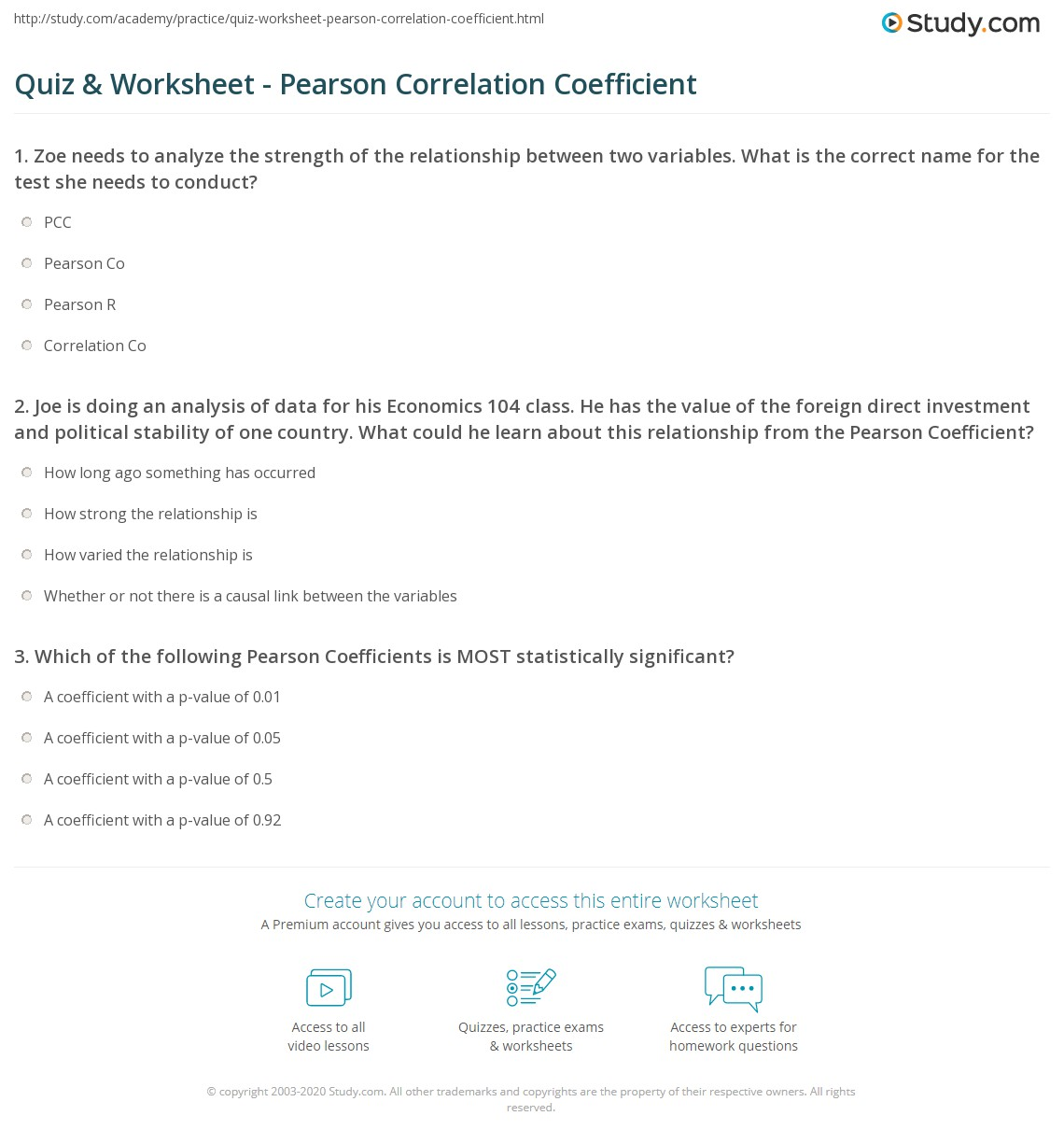 Quiz & Worksheet - Pearson Correlation Coefficient | Study.com