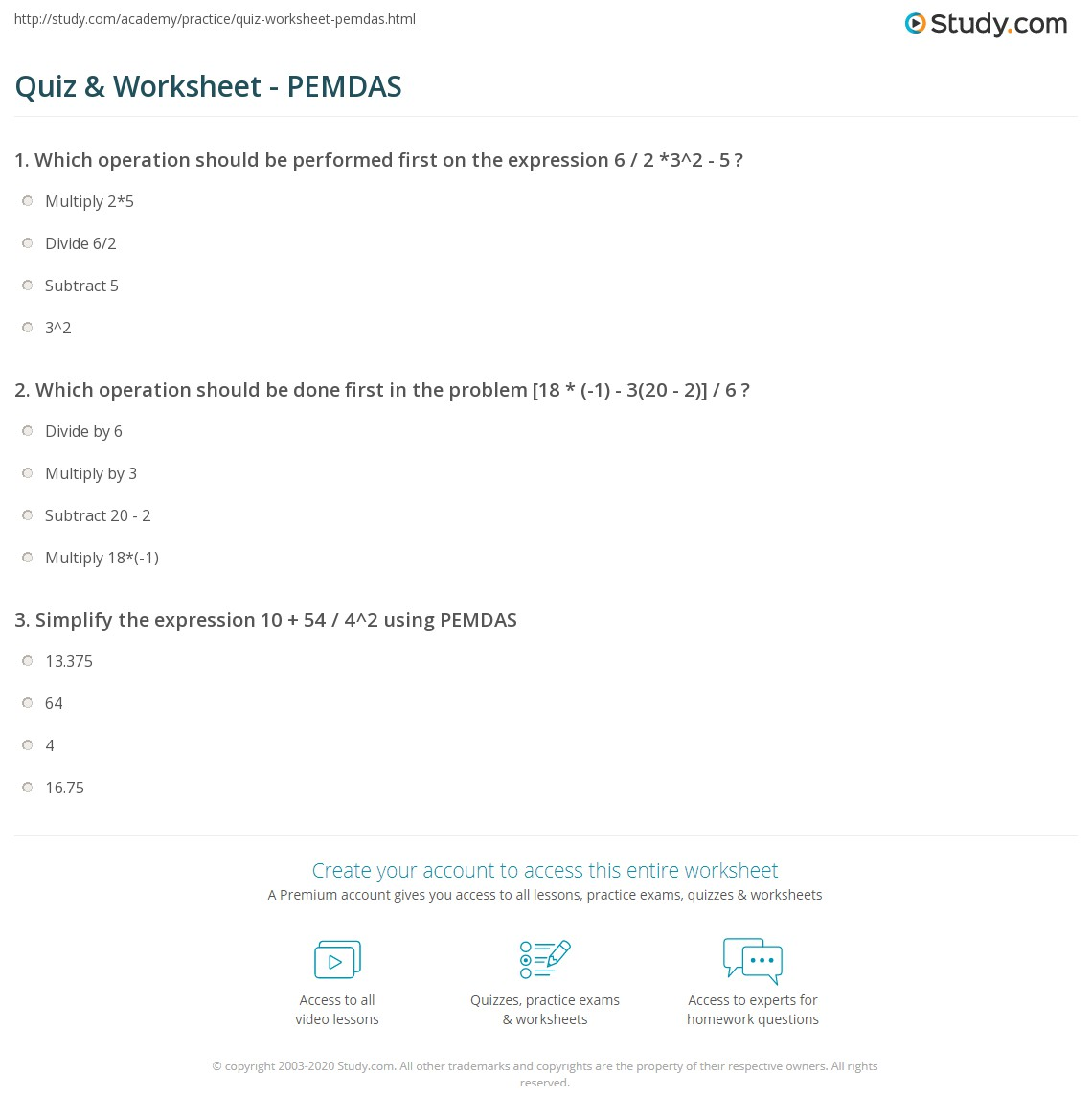 math worksheet : quiz  worksheet  pemdas  study  : Pemdas Math Worksheets