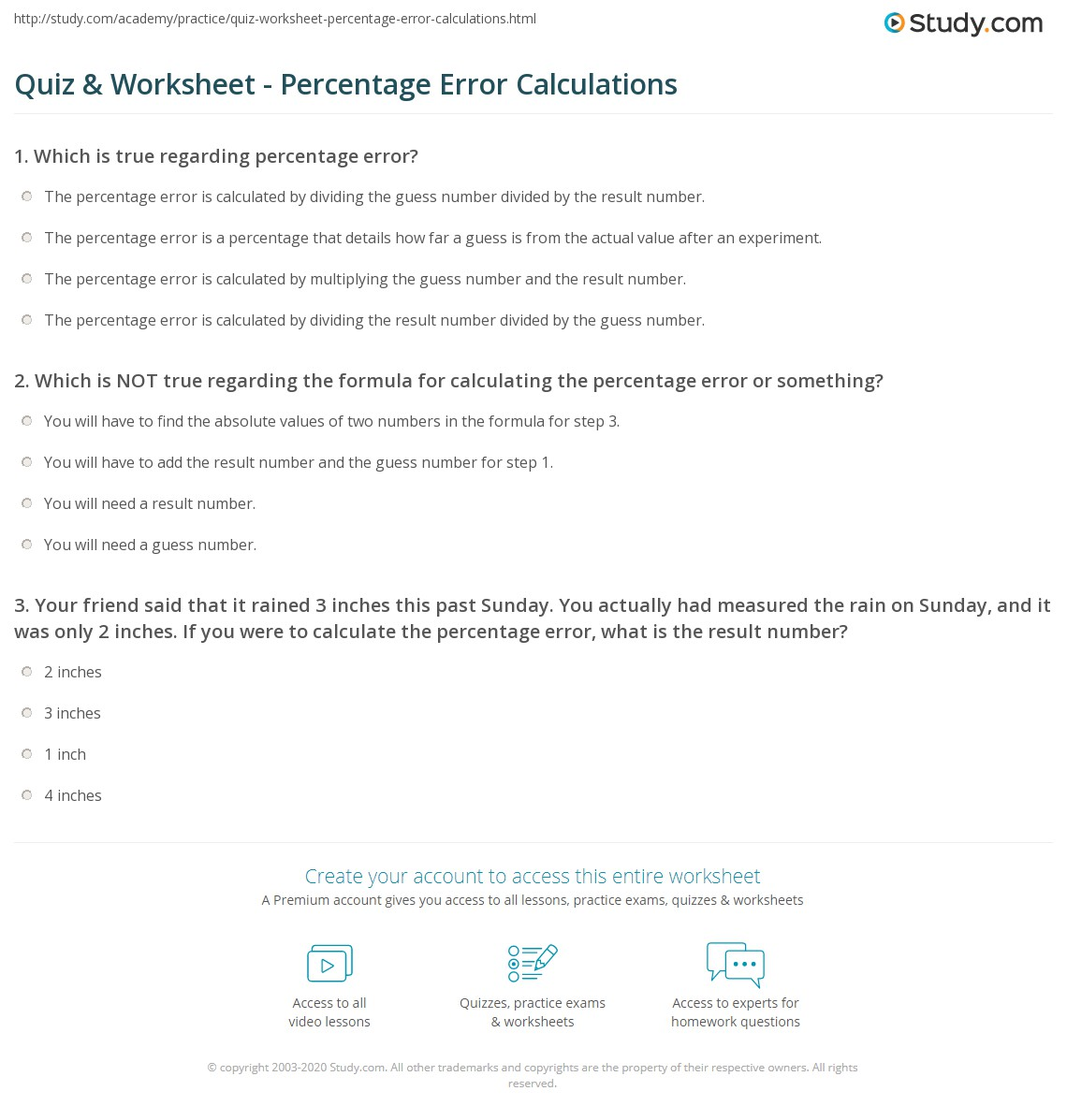 quiz worksheet percentage error calculations. Black Bedroom Furniture Sets. Home Design Ideas