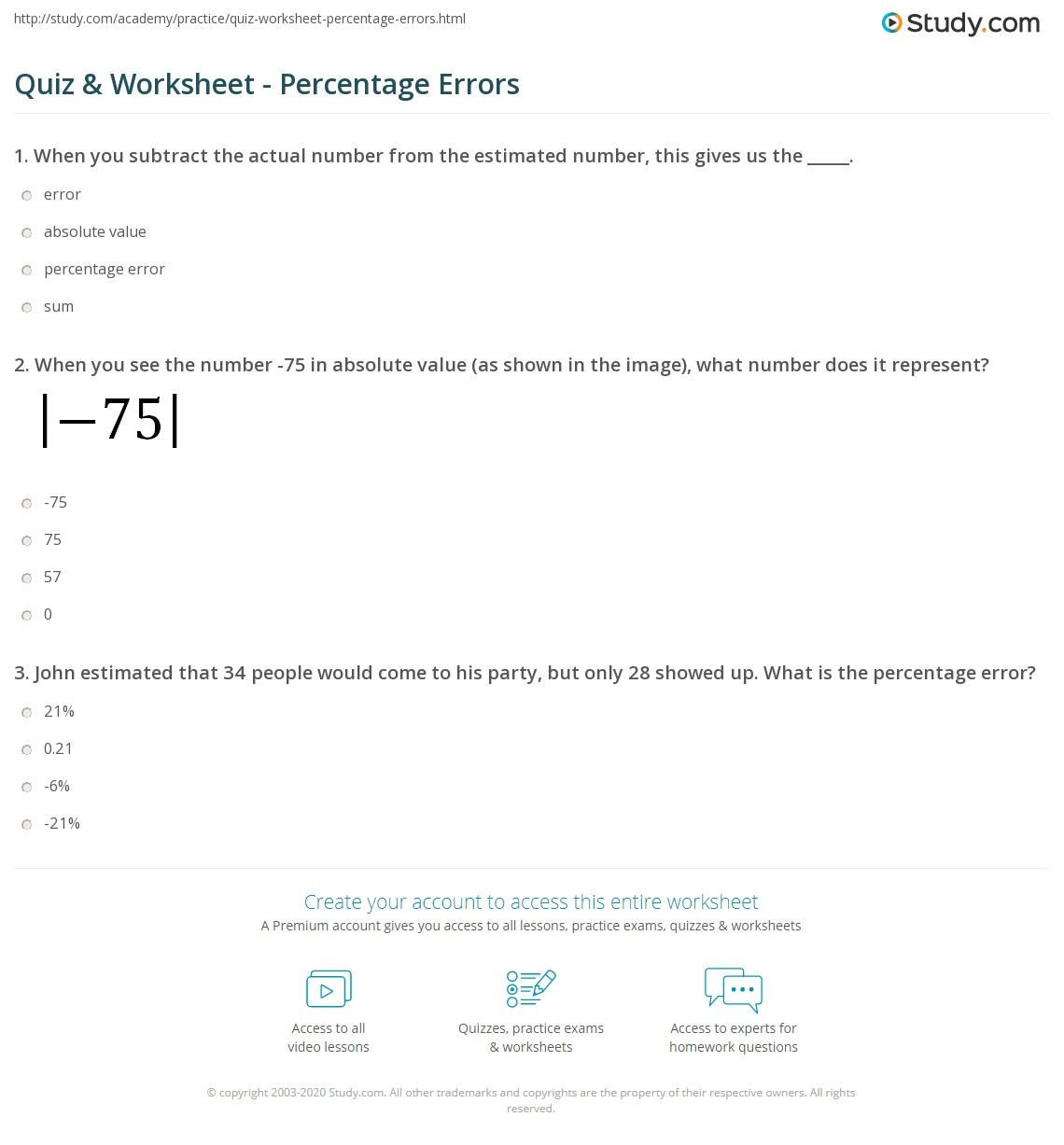 Quiz & Worksheet - Percentage Errors | Study.com