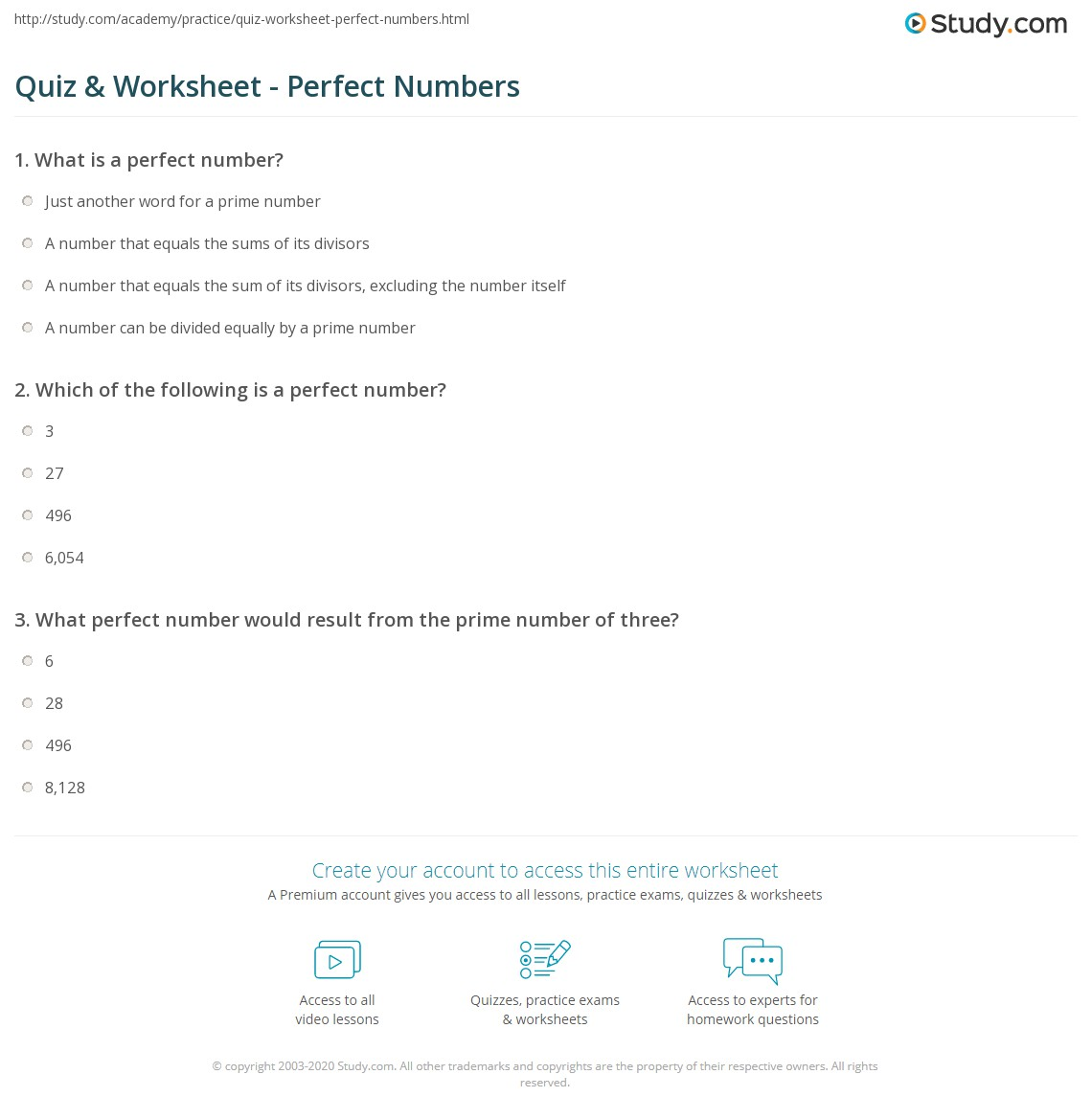 Quiz & Worksheet - Perfect Numbers | Study.com