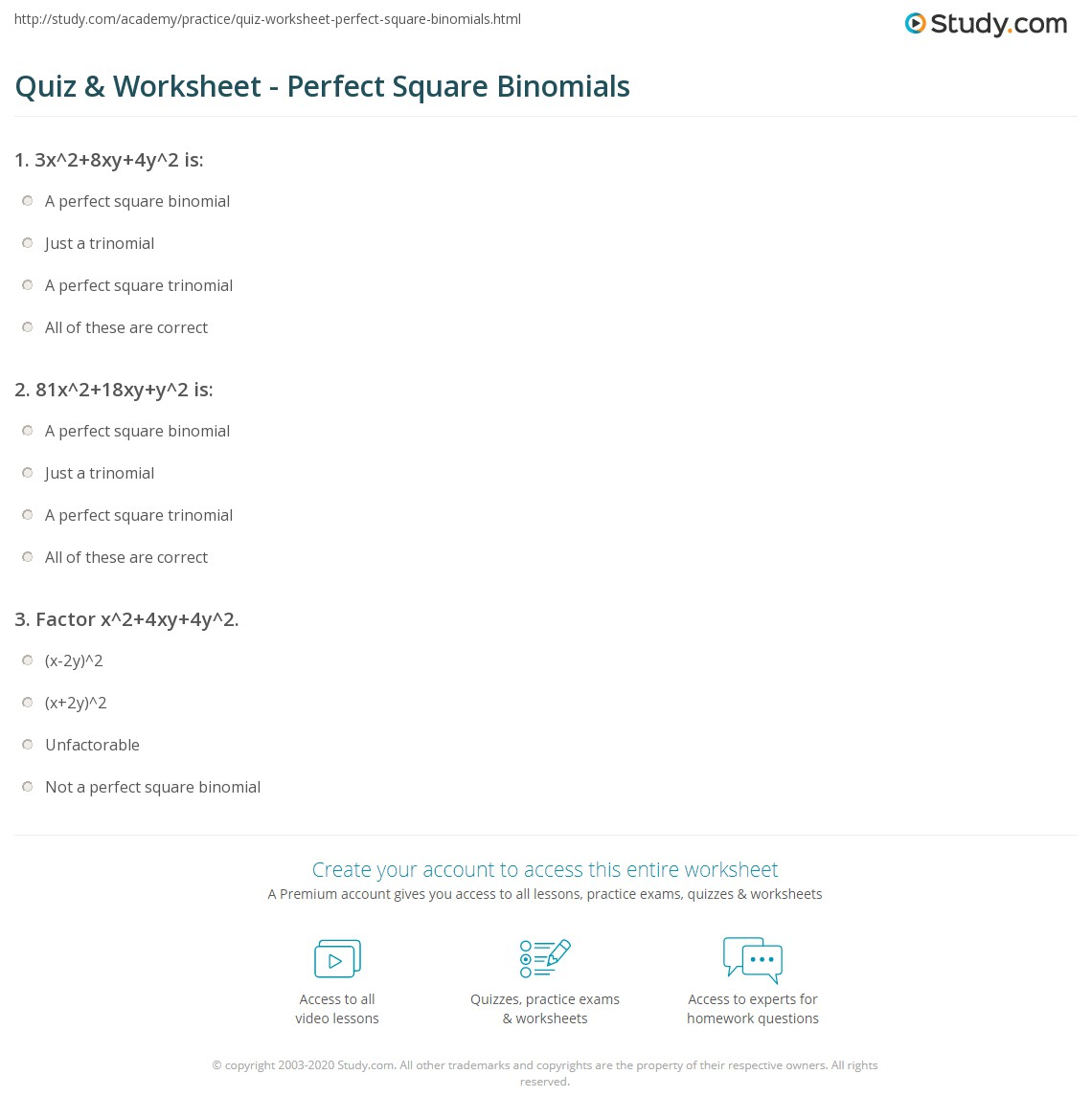 Print Perfect Square Binomial: Definition & Explanation Worksheet