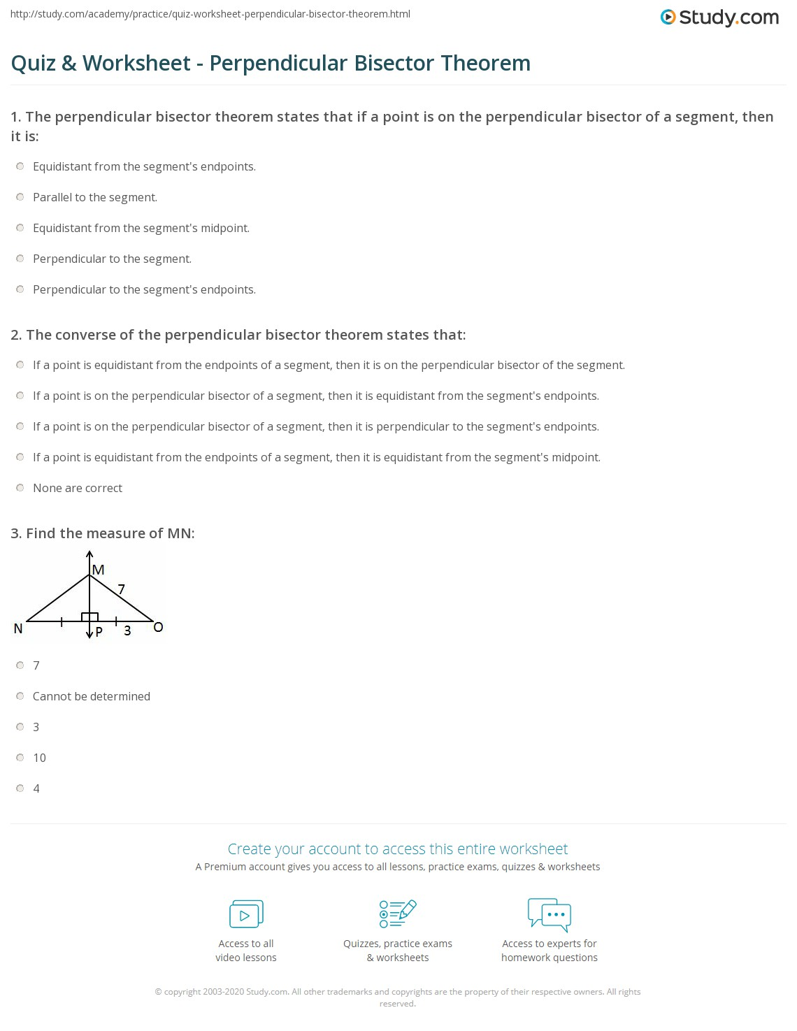 Printables Perpendicular Bisector Worksheet quiz worksheet perpendicular bisector theorem study com print proof and example worksheet