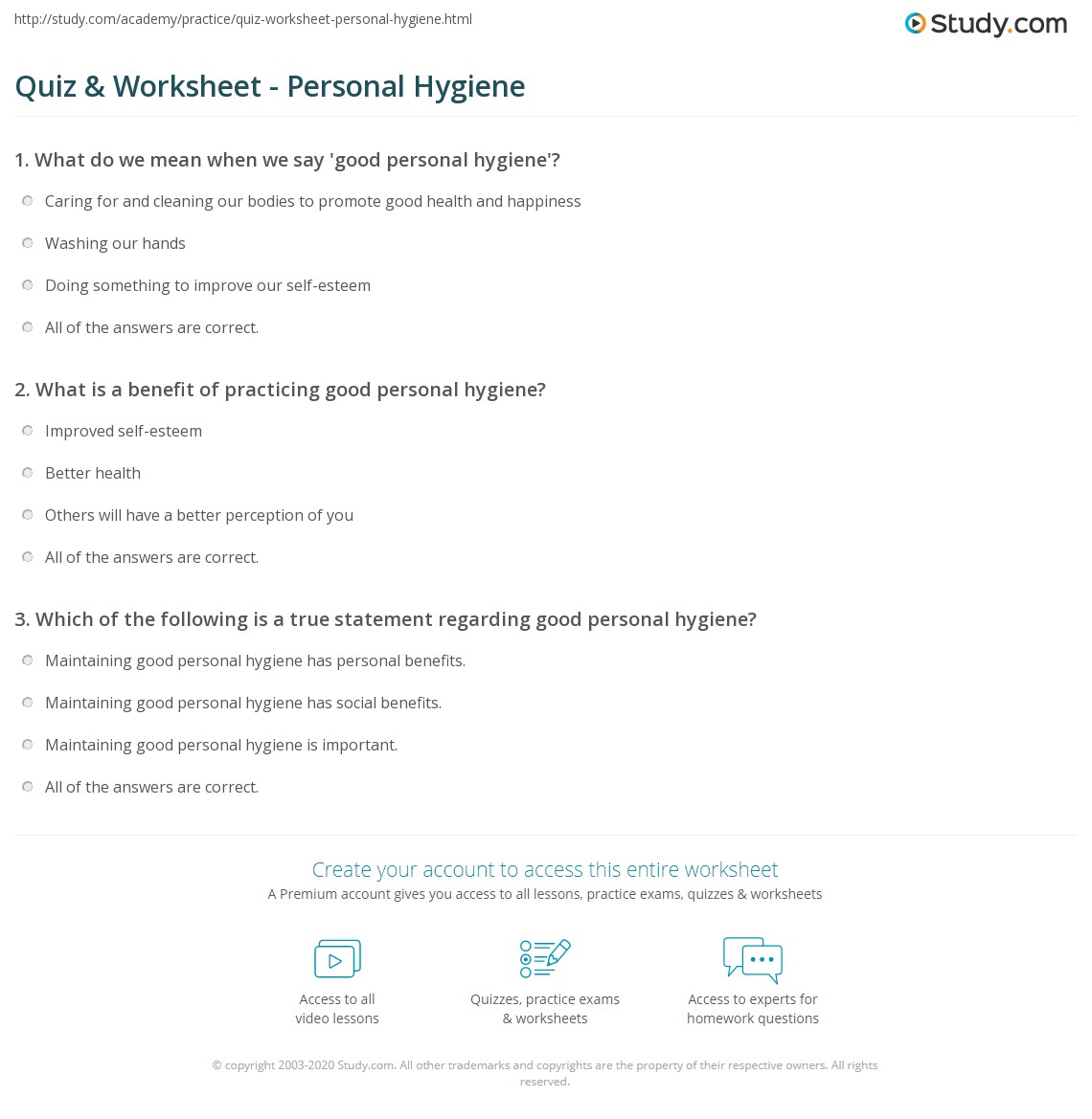 Quiz Worksheet Personal Hygiene – Personal Hygiene Worksheets for Adults