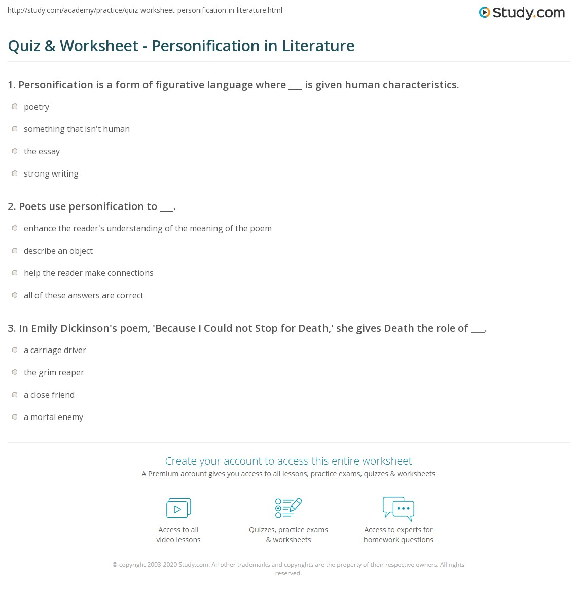 Quiz Worksheet Personification in Literature – Personification Worksheets