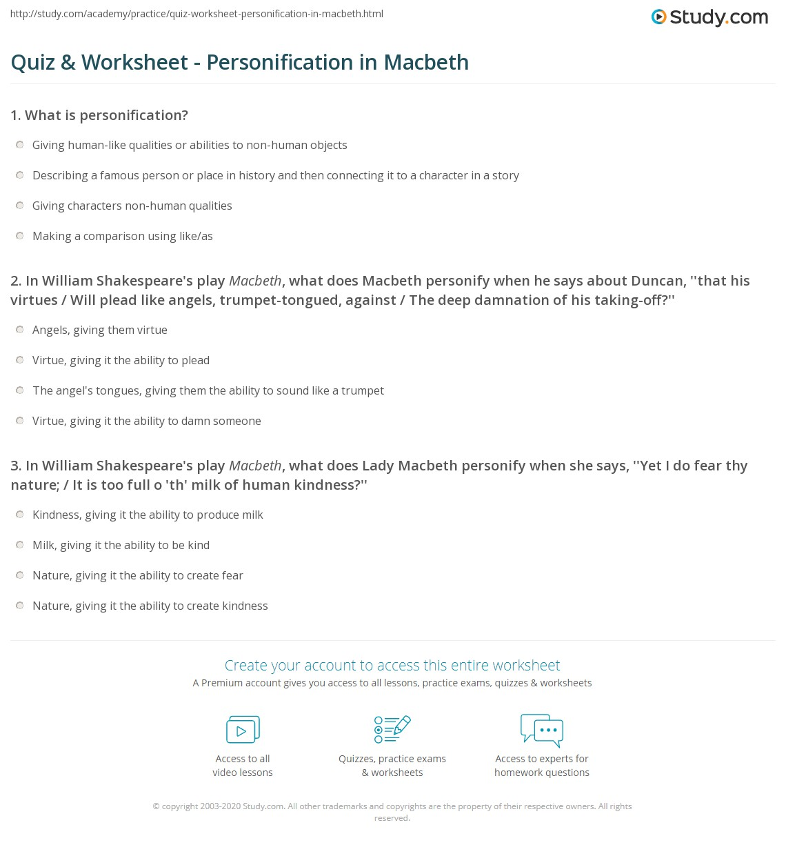 Uncategorized Personification Worksheet quiz worksheet personification in macbeth study com print worksheet