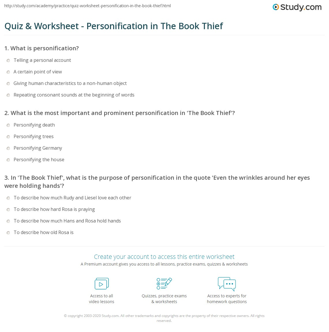 quiz worksheet personification in the book thief com print personification in the book thief worksheet