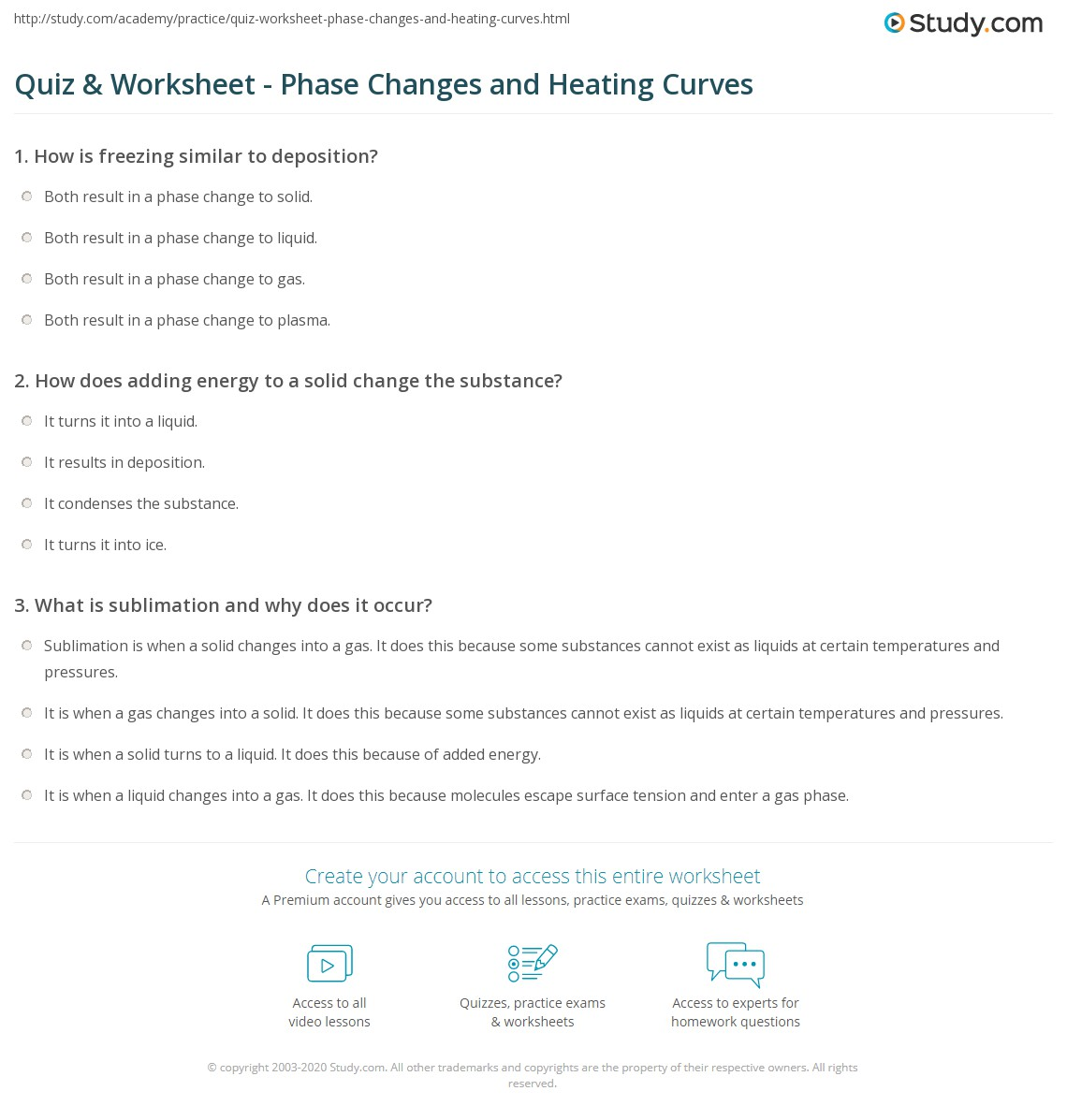 Quiz & Worksheet - Phase Changes and Heating Curves | Study.com