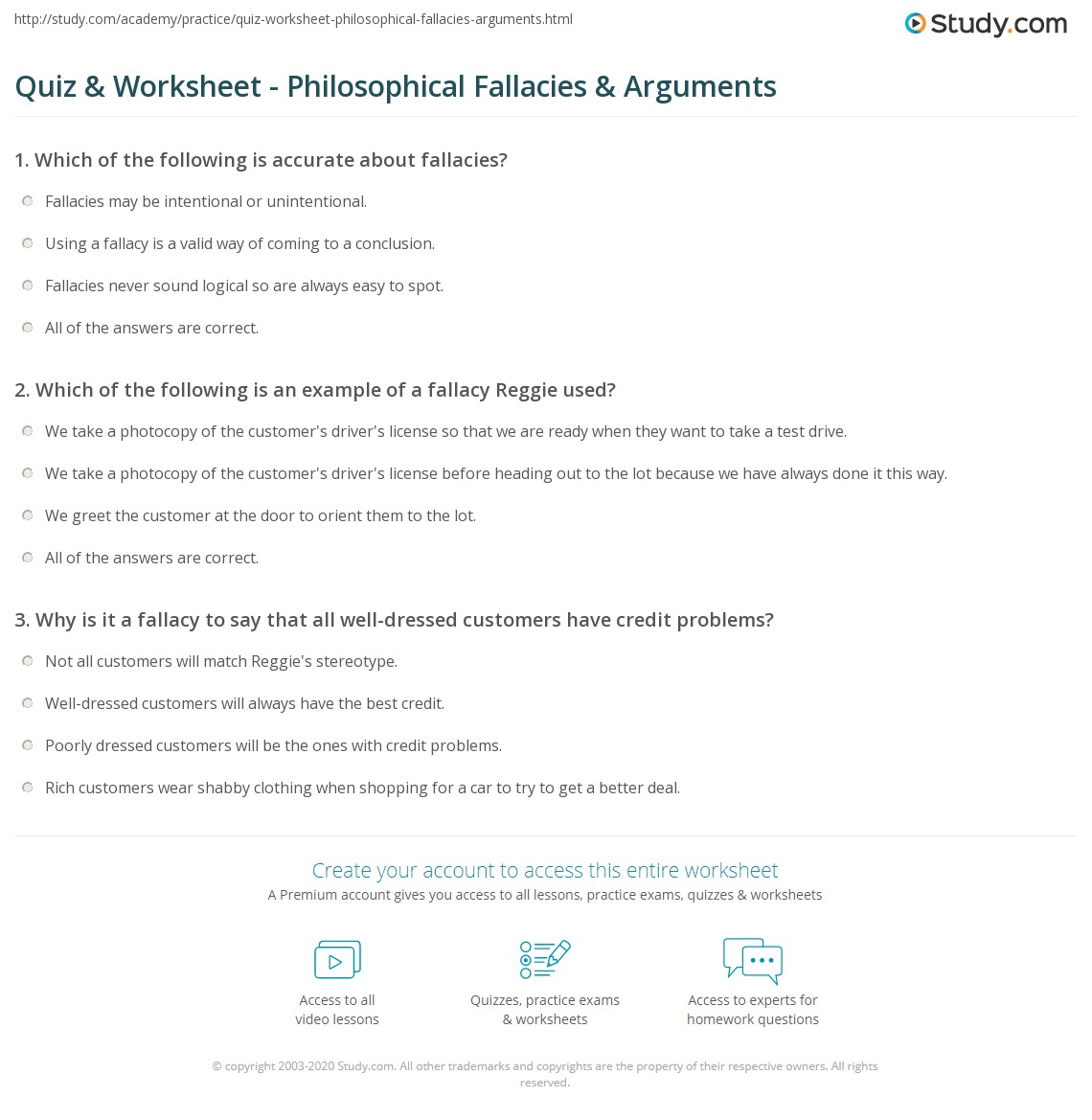 Quiz Worksheet Philosophical Fallacies Arguments – Logical Fallacies Worksheet