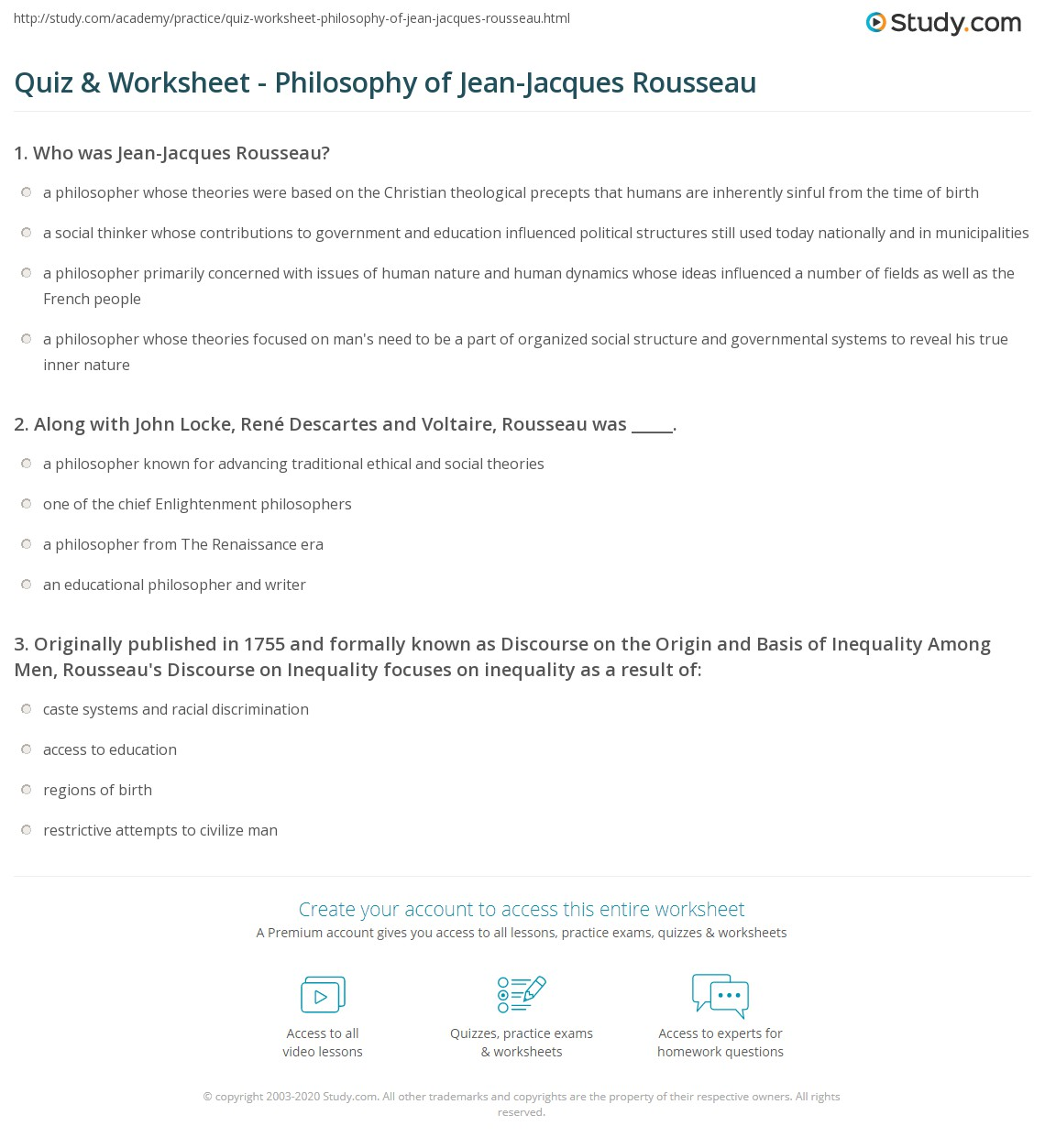 quiz worksheet philosophy of jean jacques rousseau com print jean jacques rousseau philosophy and legacy worksheet
