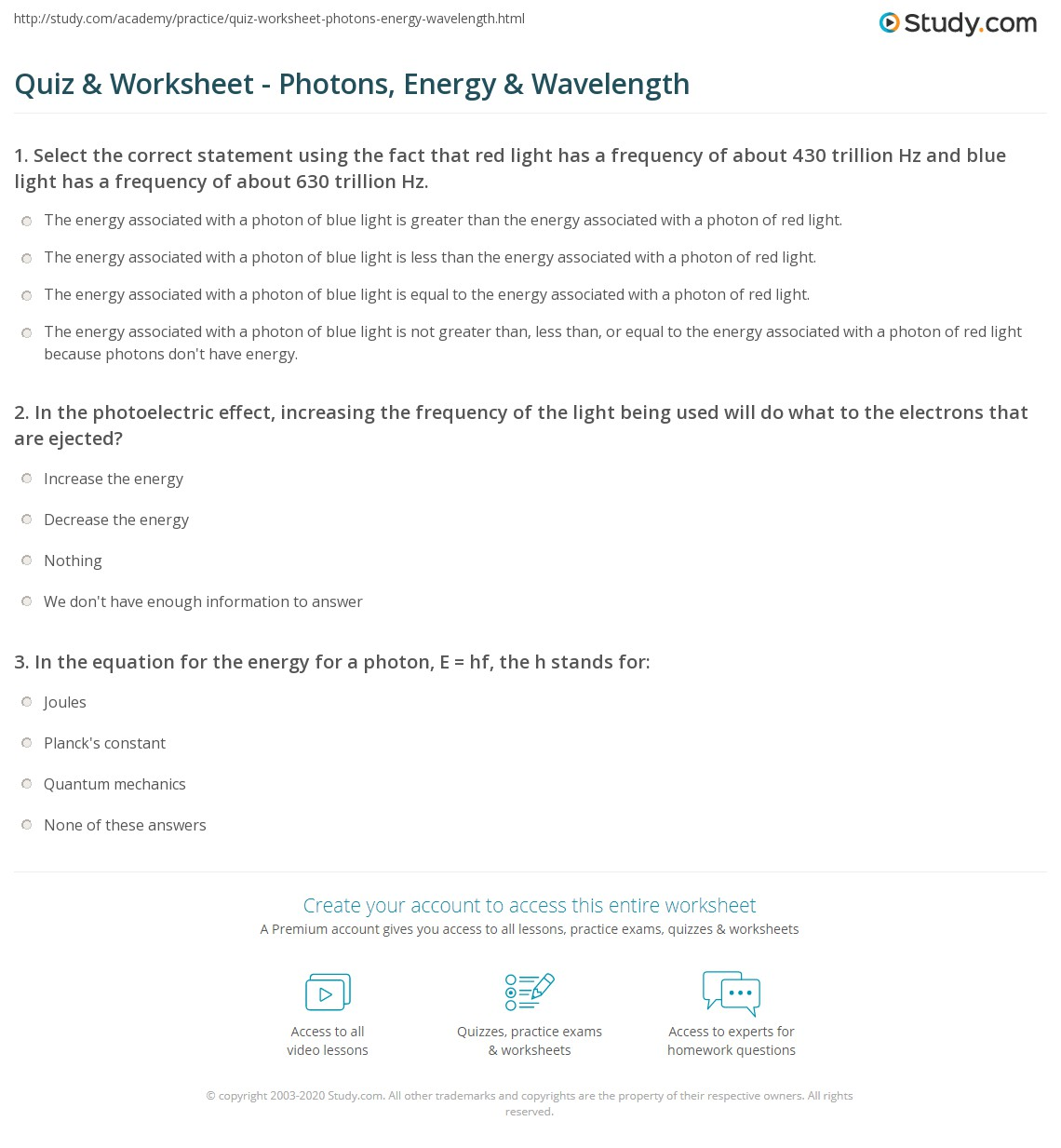Quiz Worksheet Photons Energy Wavelength – Energy Calculations Worksheet
