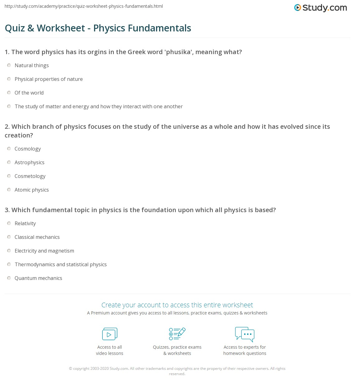 Quiz Worksheet Physics Fundamentals – Physics Worksheet