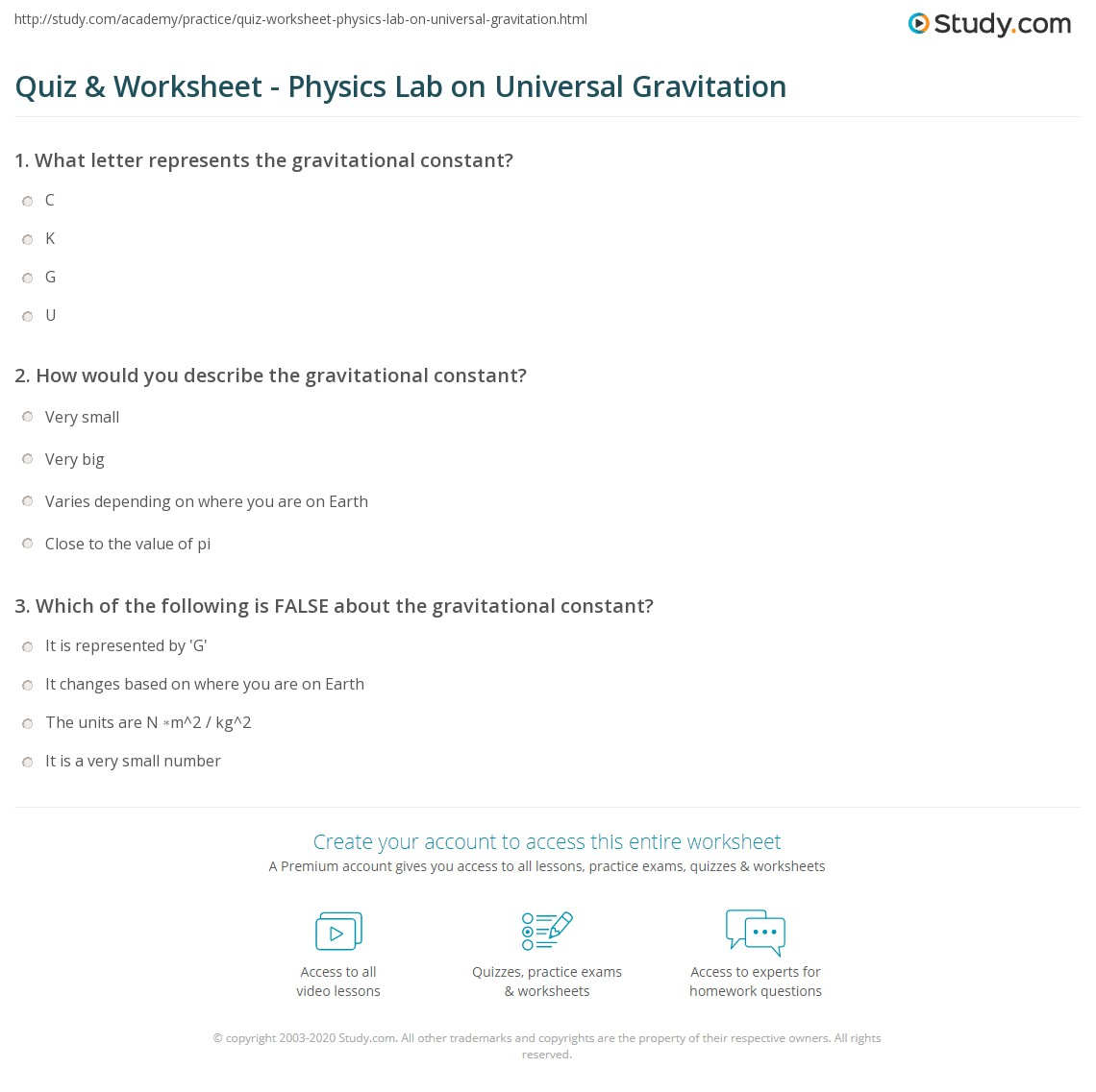 Quiz & Worksheet - Physics Lab on Universal Gravitation | Study.com
