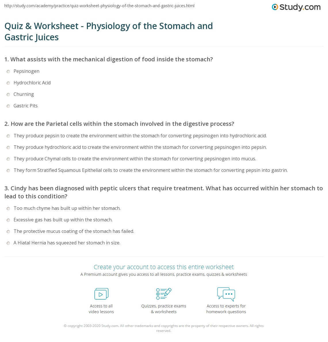 Quiz & Worksheet - Physiology of the Stomach and Gastric Juices ...