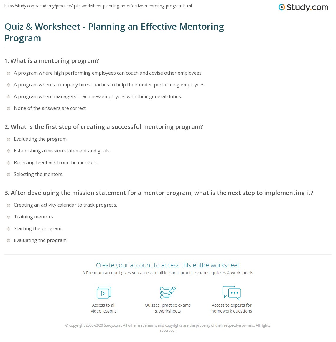 Worksheets Mentoring Worksheets quiz worksheet planning an effective mentoring program study com print how to design a successful worksheet