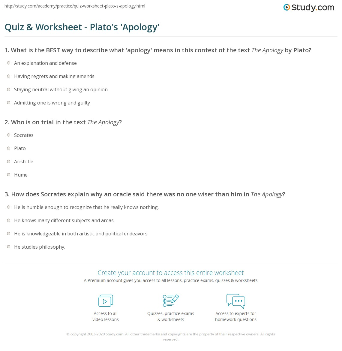 quiz worksheet plato s apology com who is on trial in the text the apology socrates