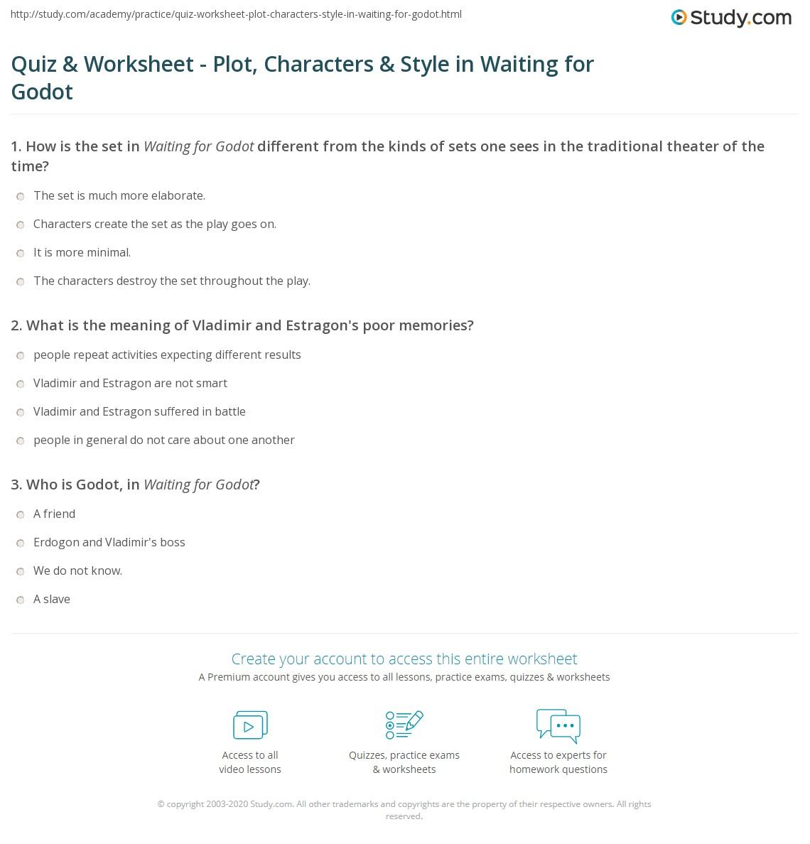 quiz worksheet plot characters style in waiting for godot print waiting for godot plot characters and style worksheet