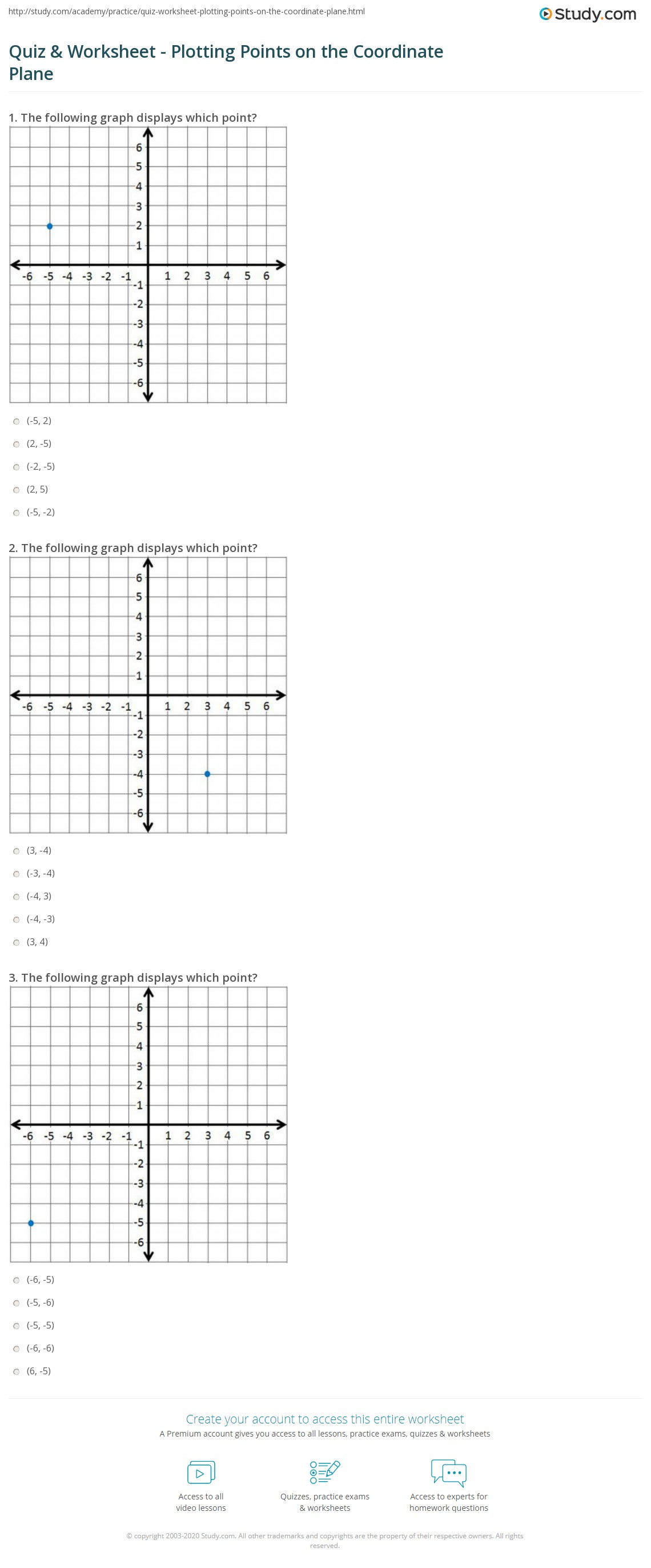 Quiz Worksheet Plotting Points on the Coordinate Plane – Graphing Points on a Coordinate Plane Worksheet