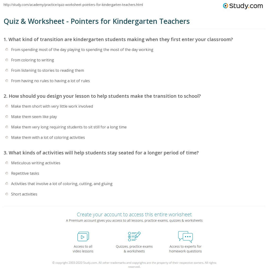 Quiz worksheet pointers for kindergarten teachers study print kindergarten teacher tips worksheet robcynllc Images