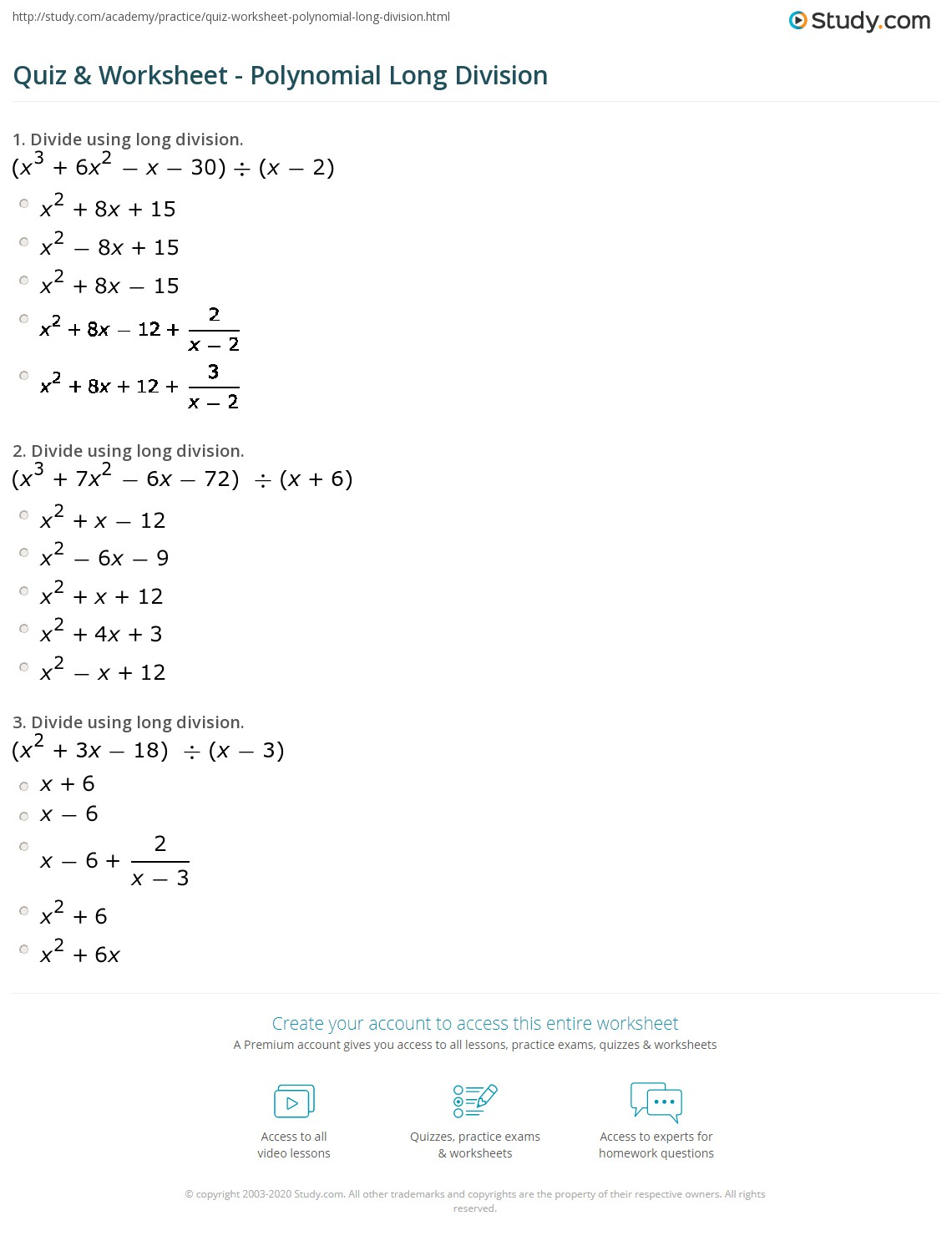 Quiz Worksheet Polynomial Long Division – Long Division of Polynomials Worksheet