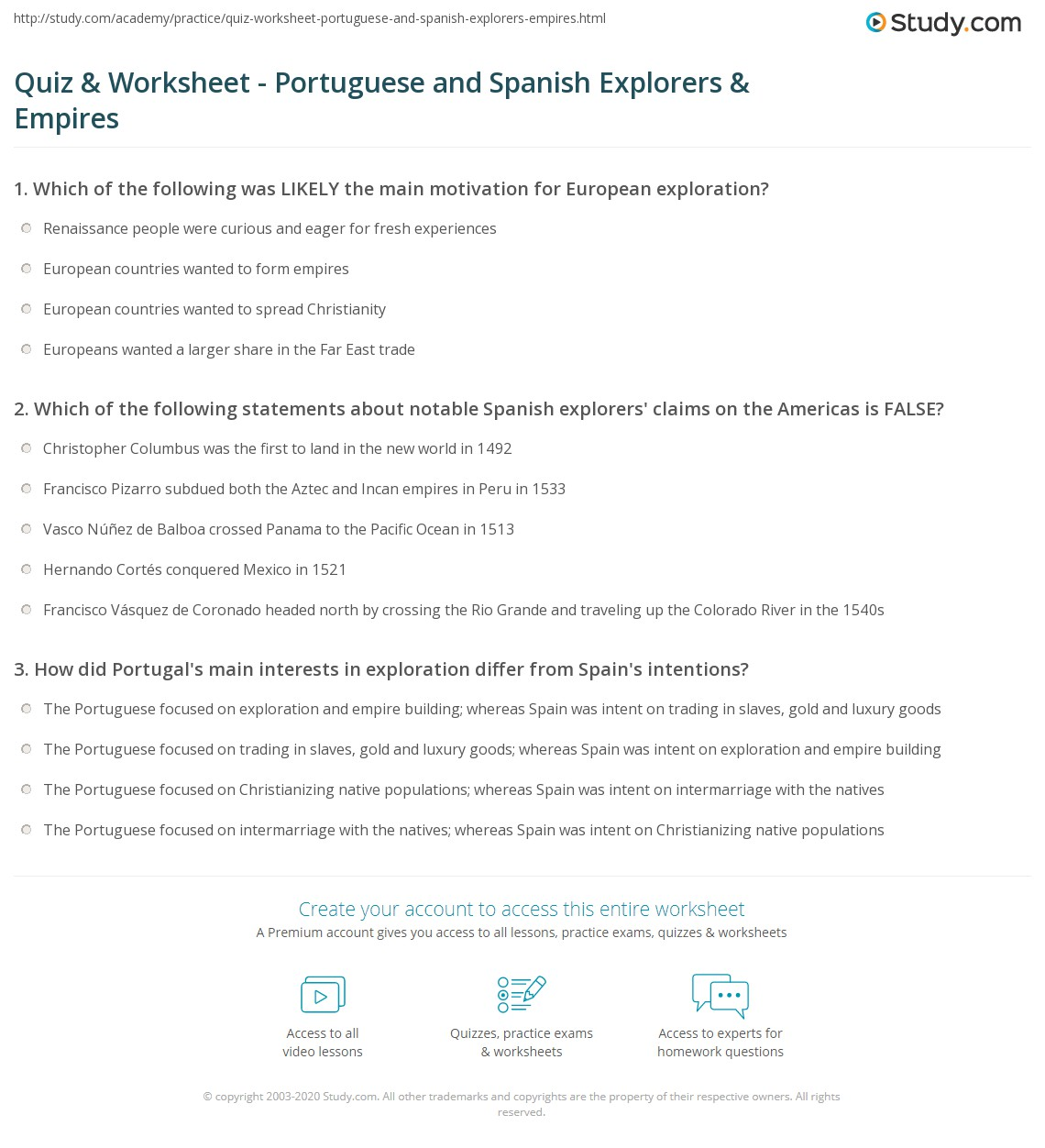 Quiz Worksheet Portuguese and Spanish Explorers Empires – 6th Grade Spanish Worksheets