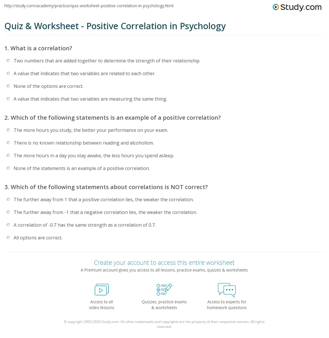 Worksheets Correlation Worksheet quiz worksheet positive correlation in psychology study com print examples definition worksheet
