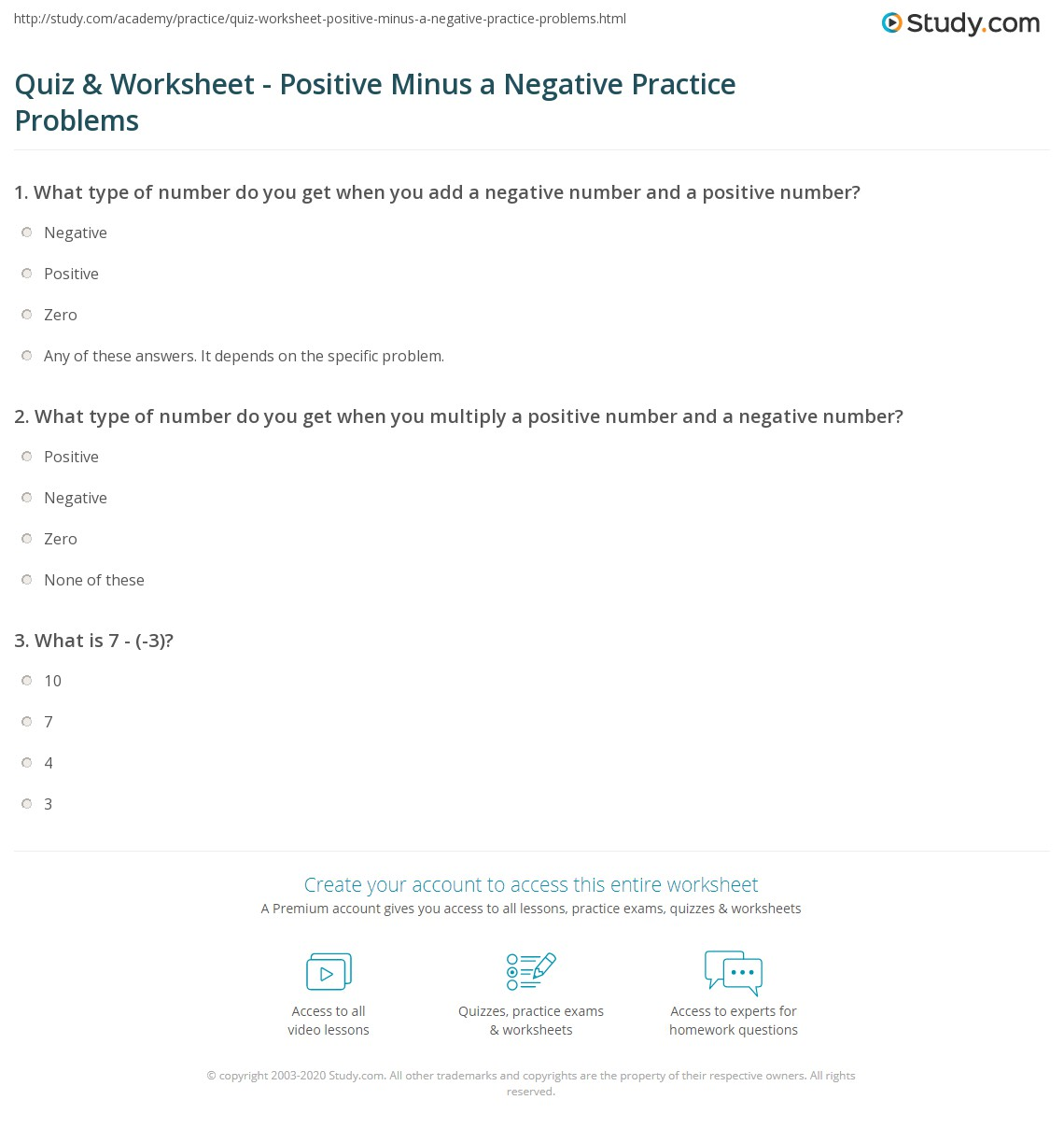 worksheet Multiplying Positive And Negative Numbers Worksheet quiz worksheet positive minus a negative practice problems what type of number do you get when multiply and number