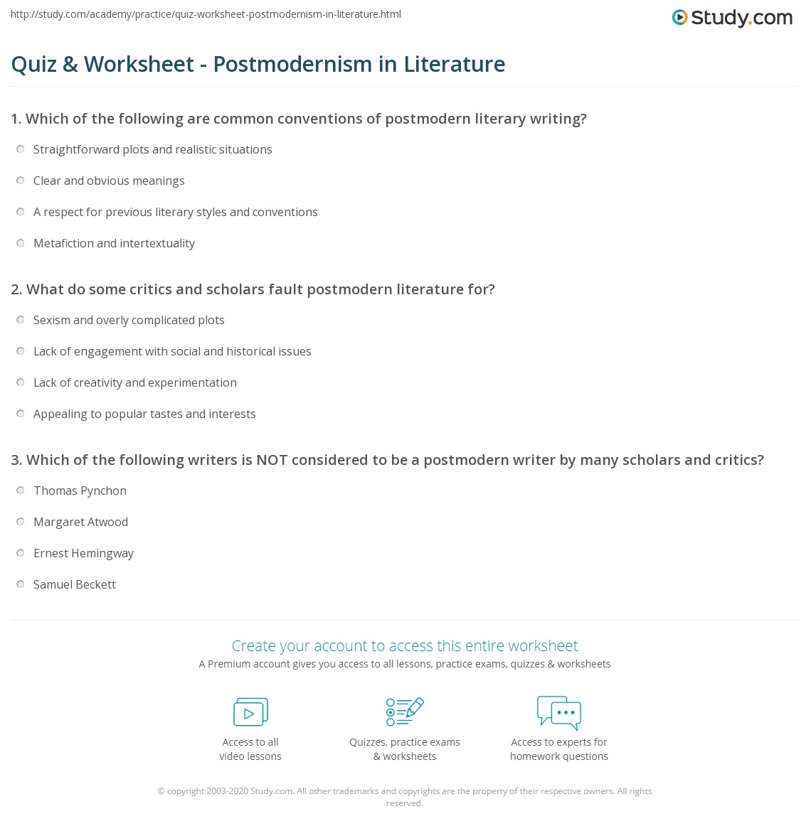 quiz worksheet postmodernism in literature com print postmodernism in literature definition examples worksheet