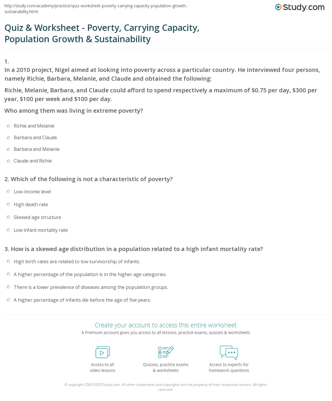 Quiz Worksheet Poverty Carrying Capacity Population Growth – Population Growth Worksheet