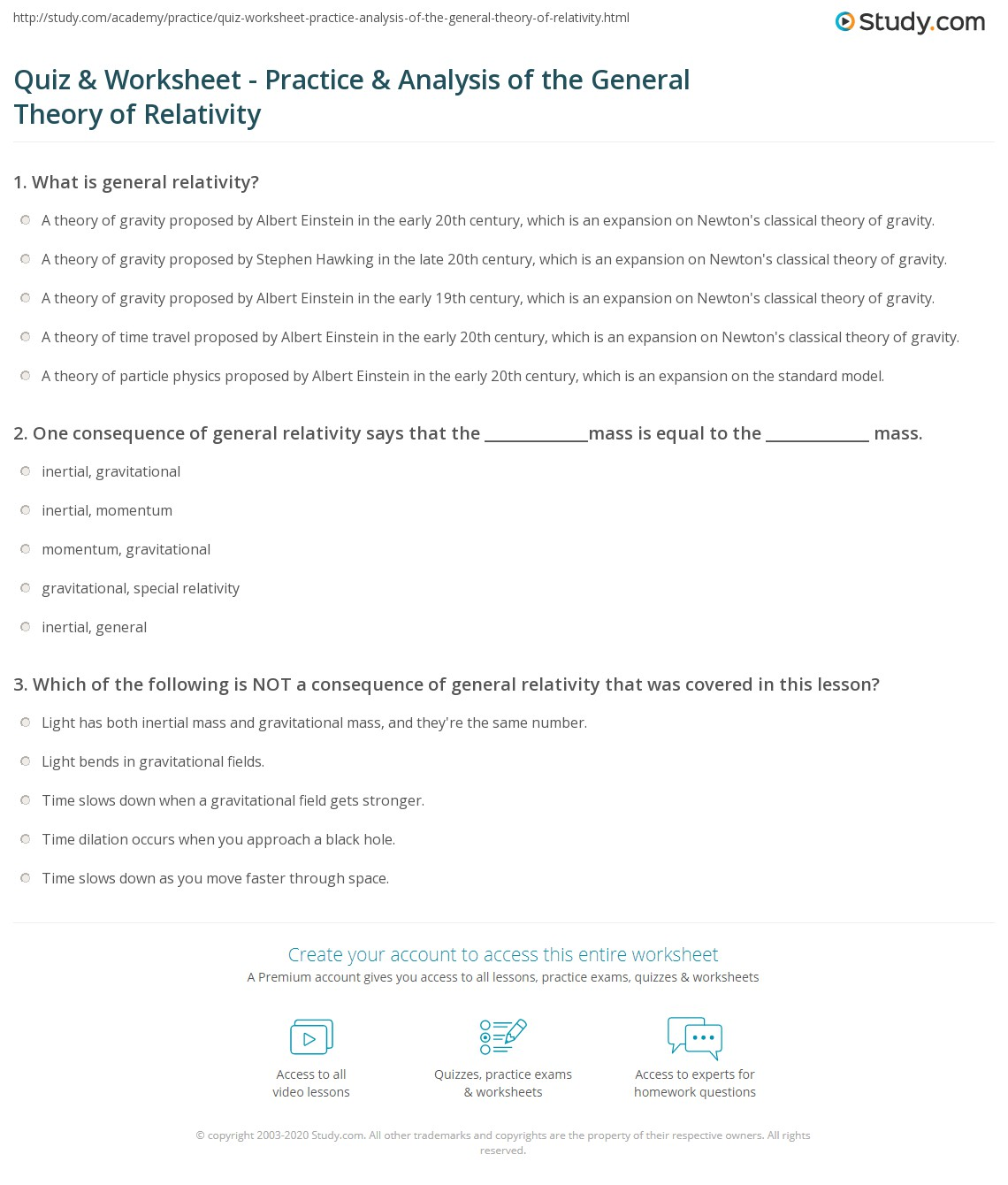 ... General Theory of Relativity: Analysis & Practice Problems Worksheet