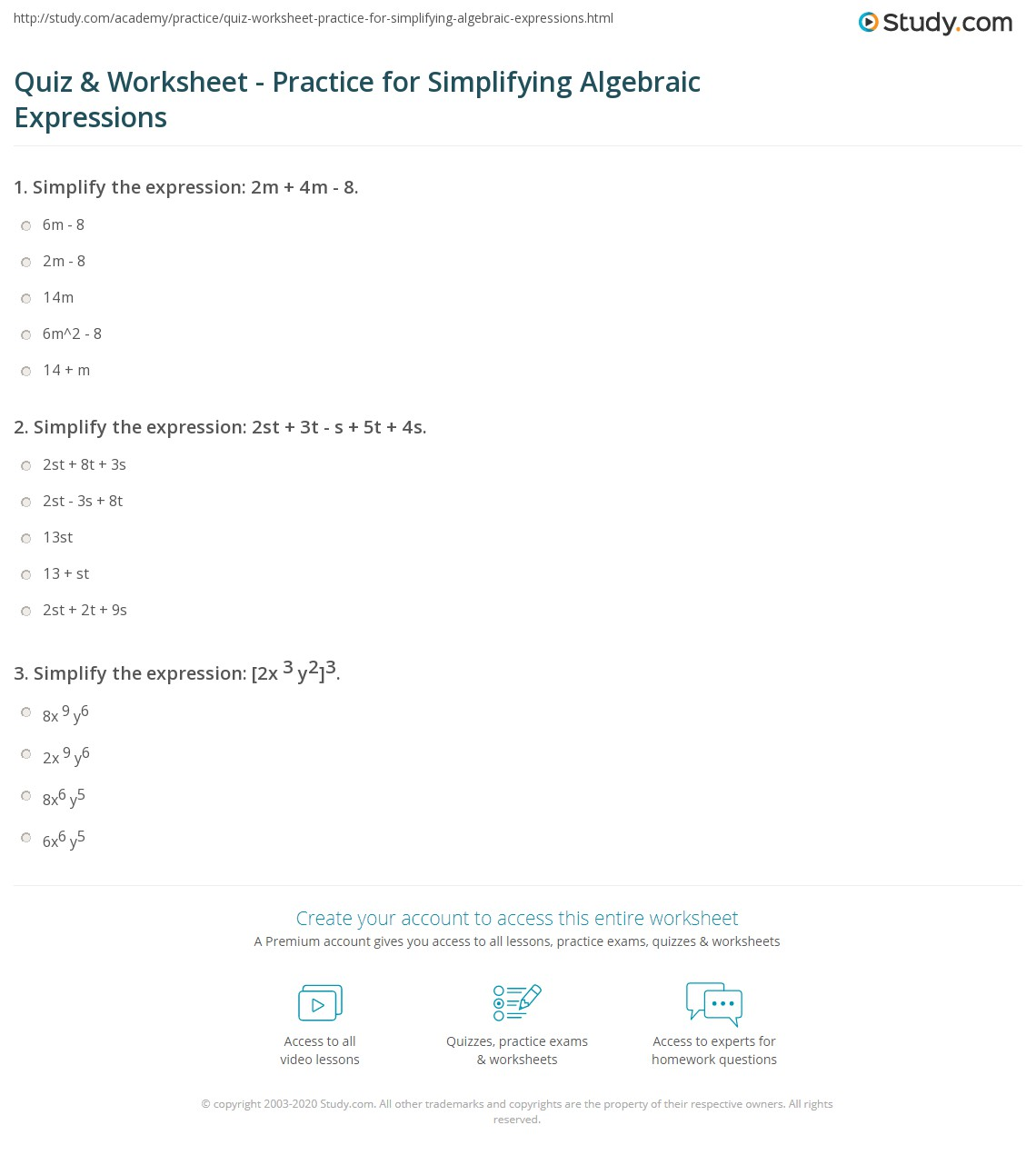 worksheet Simplifying Algebraic Expressions quiz worksheet practice for simplifying algebraic expressions print worksheet