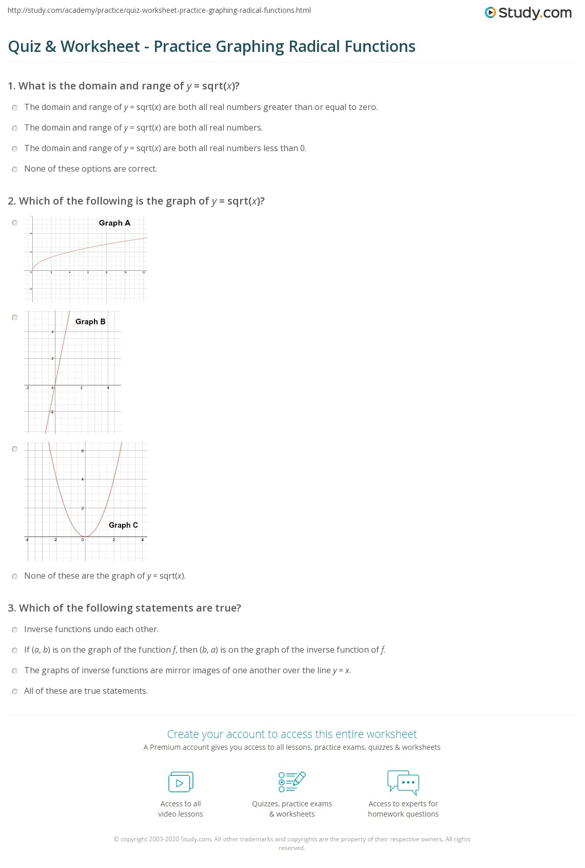 Uncategorized Inverse Function Worksheet quiz worksheet practice graphing radical functions study com print how to graph ysqrtx worksheet