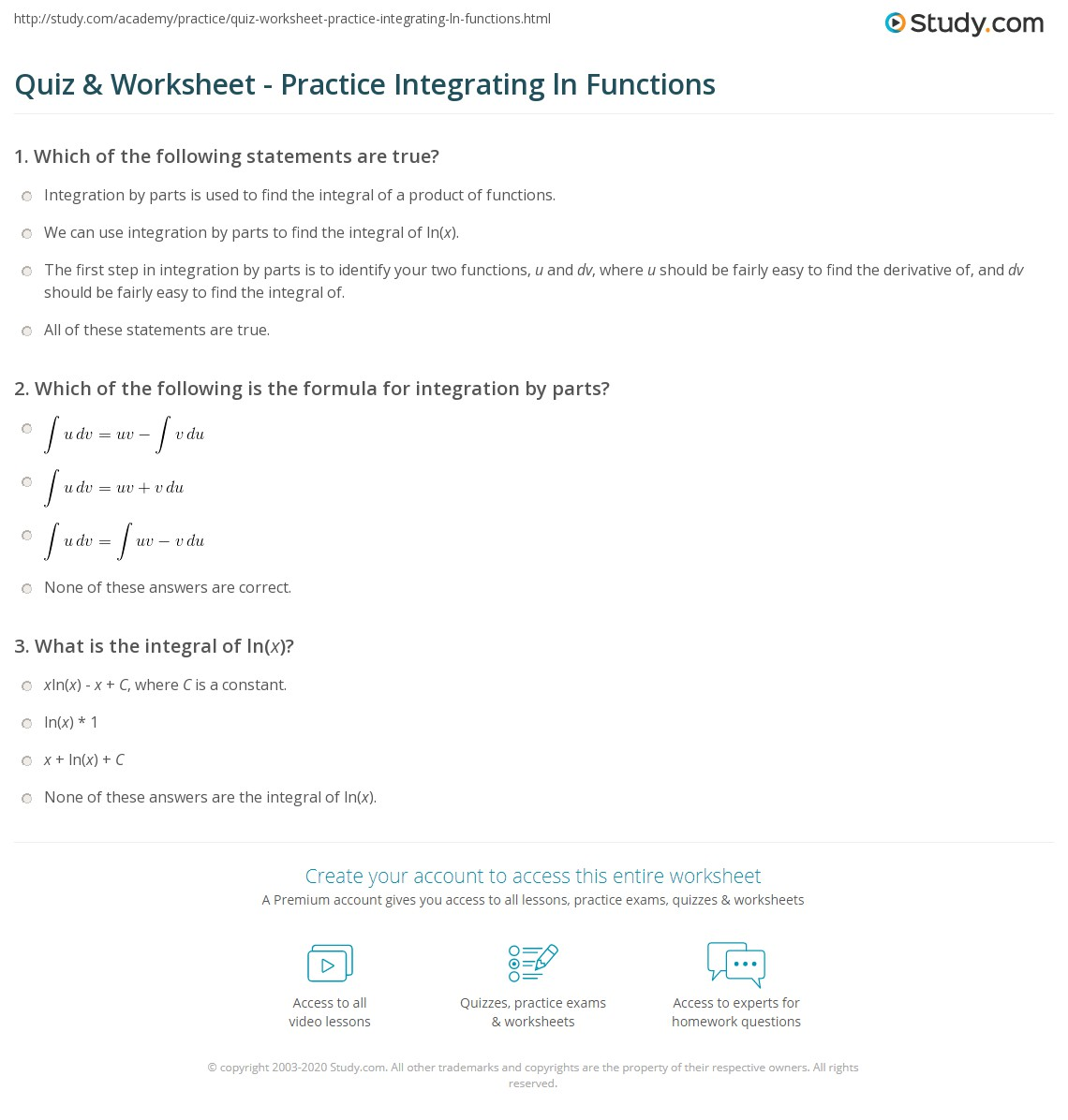 Worksheets Integration By Parts Worksheet quiz worksheet practice integrating ln functions study com which of the following is formula for integration by parts