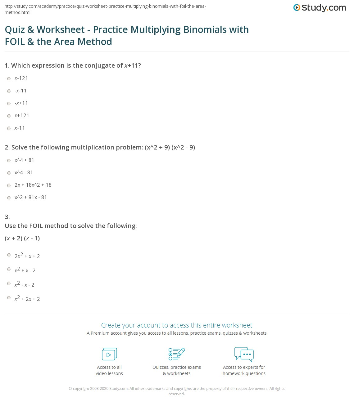 Quiz & Worksheet - Practice Multiplying Binomials with FOIL & the ...