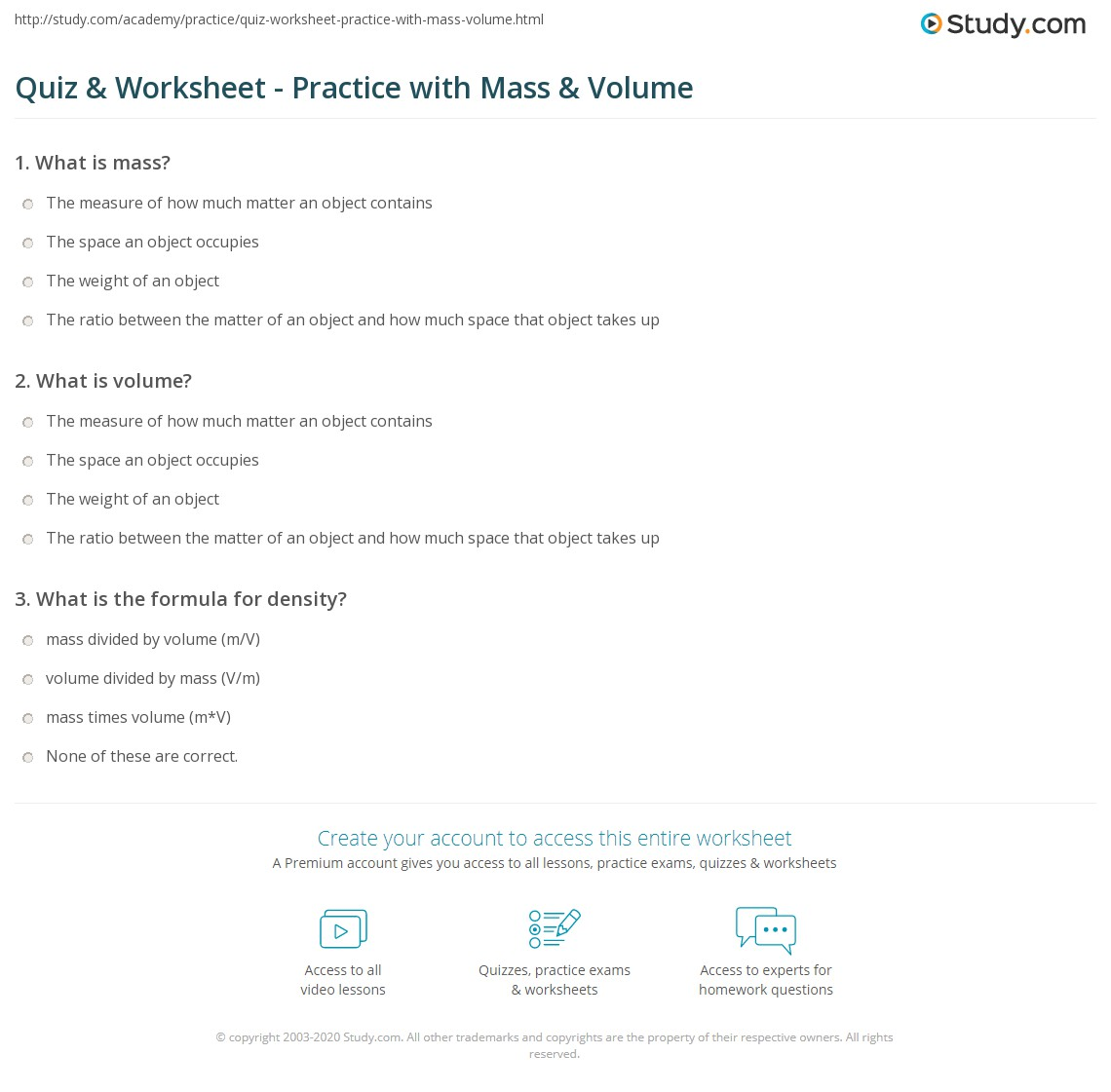 Quiz Worksheet Practice With Mass Volume Study Com