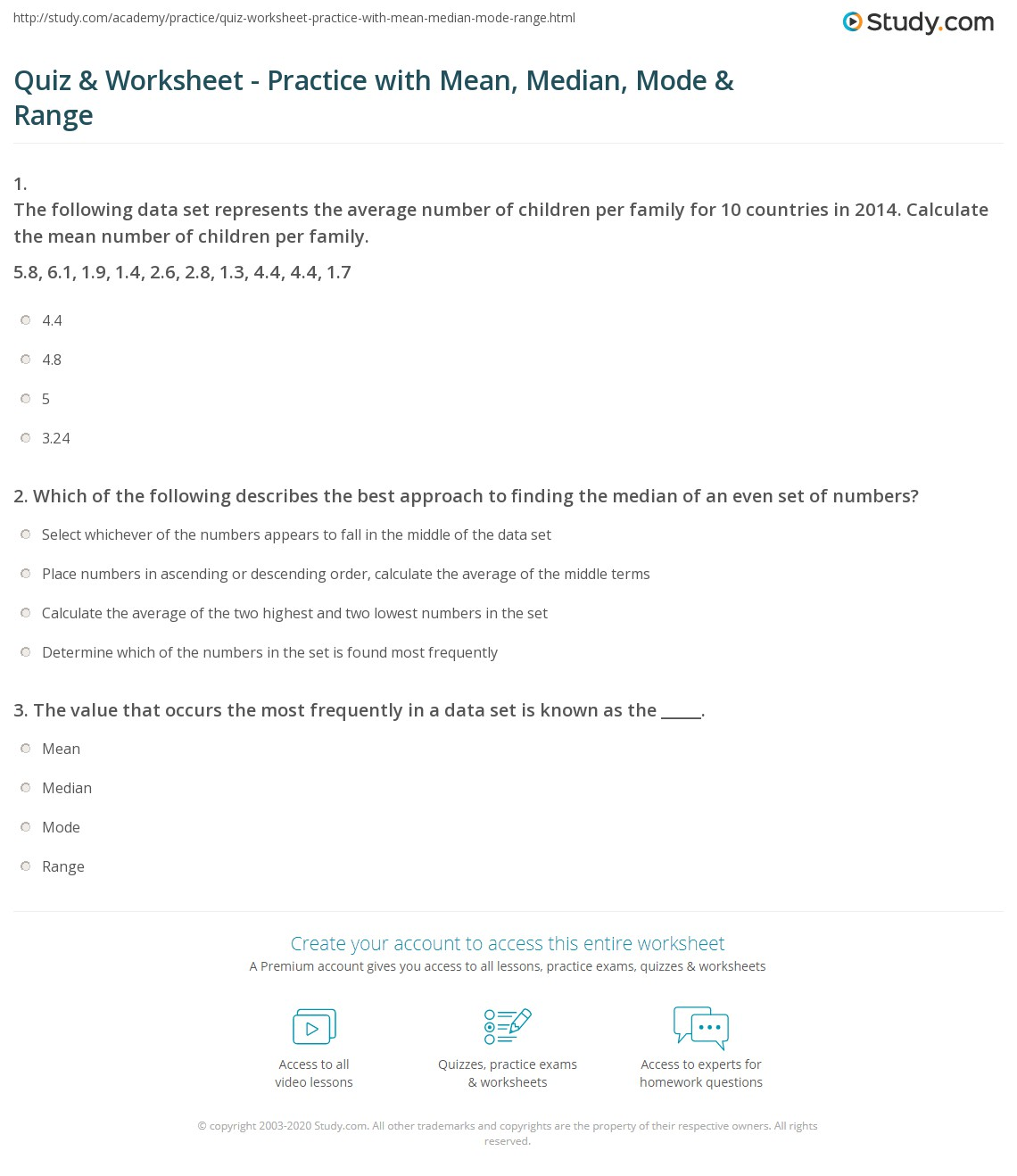 Quiz Worksheet Practice with Mean Median Mode Range – Median Mode Range Worksheet