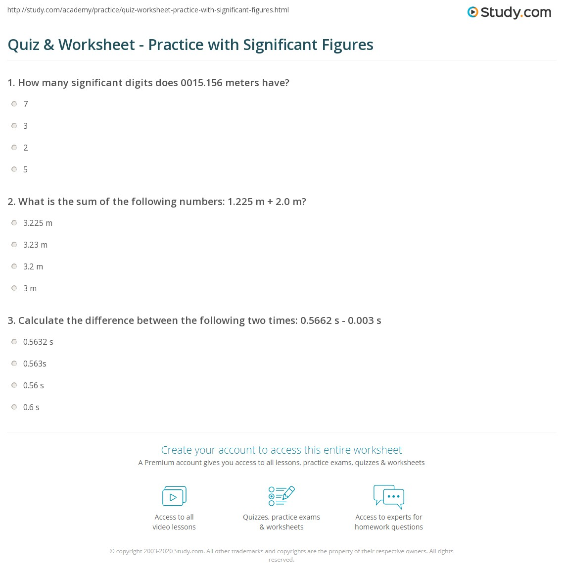 Quiz & Worksheet - Practice with Significant Figures | Study.com