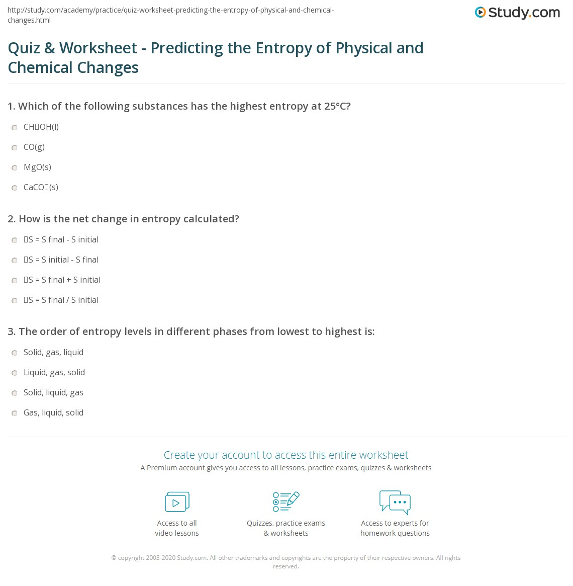 Quiz Worksheet Predicting the Entropy of Physical and Chemical – Worksheet Physical and Chemical Changes
