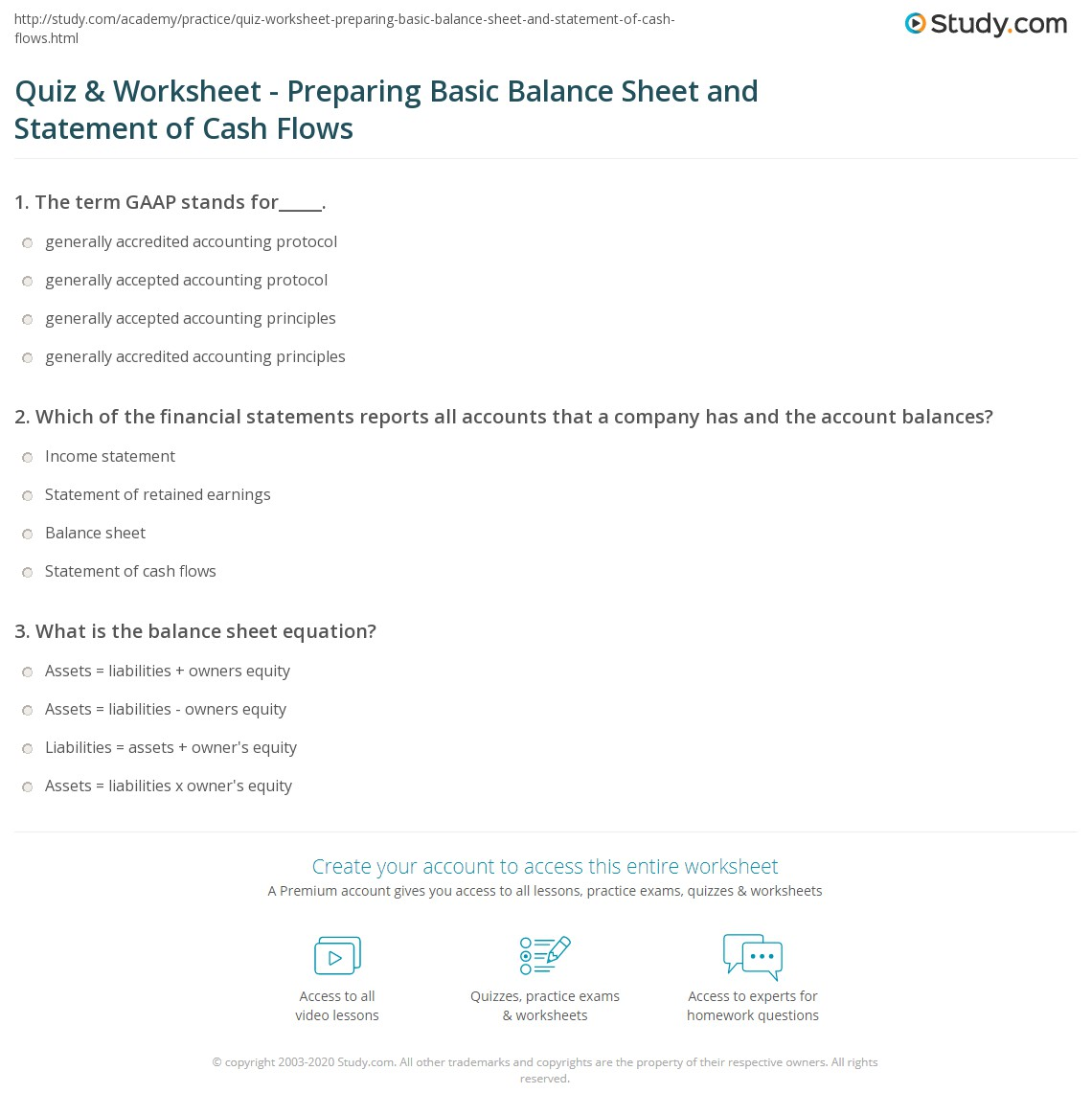 Worksheets Balance Sheet Worksheet quiz worksheet preparing basic balance sheet and statement of print how to prepare the cash flows worksheet
