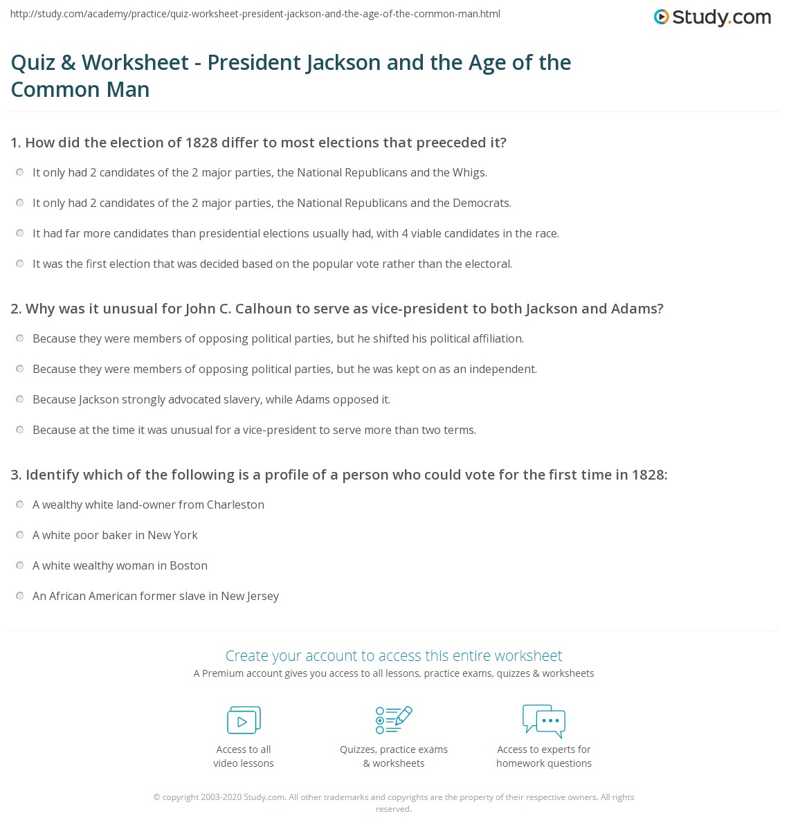 Quiz Worksheet President Jackson and the Age of the Common Man – Andrew Jackson Worksheet