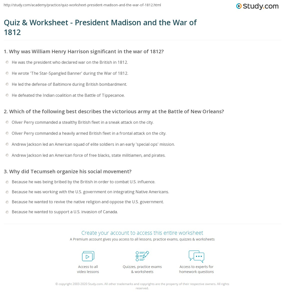 Quiz & Worksheet - President Madison and the War of 1812 | Study.com