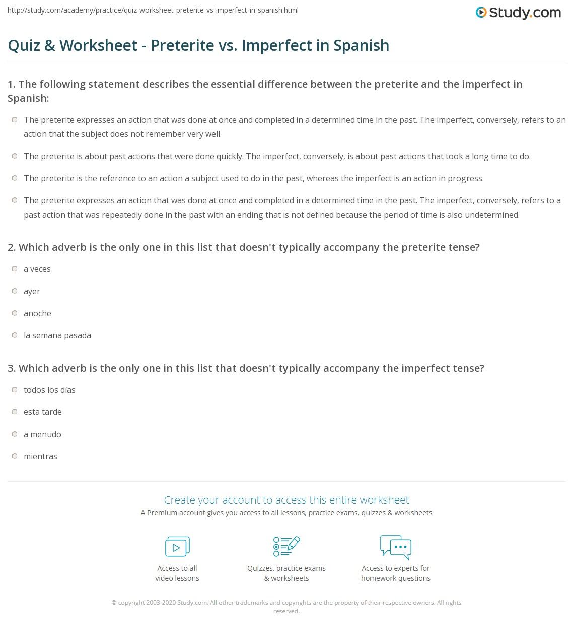 Quiz Worksheet Preterite vs Imperfect in Spanish – Preterite Vs Imperfect Worksheet with Answers