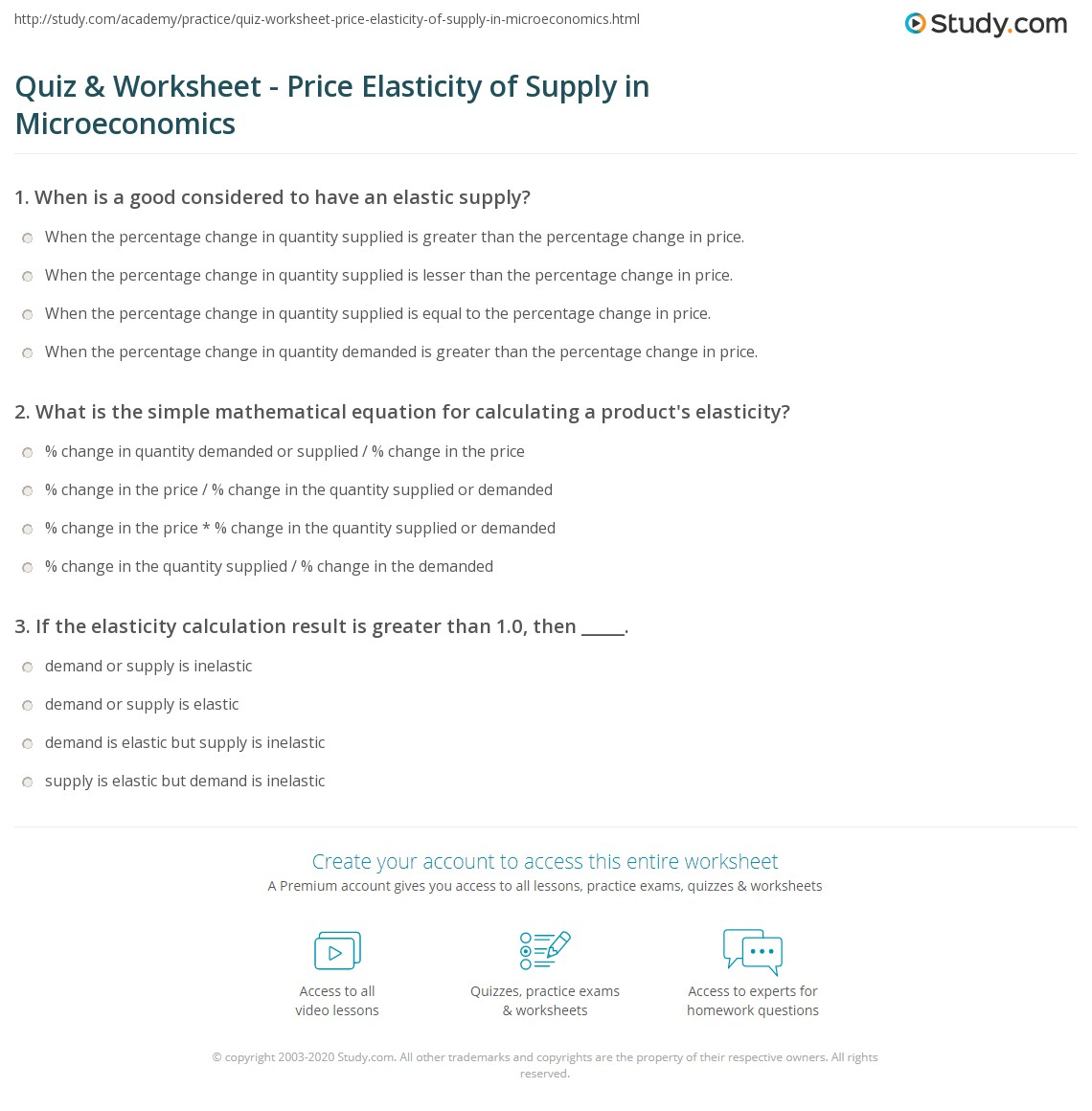 Quiz Worksheet Price Elasticity of Supply in Microeconomics – Elasticity of Demand Worksheet